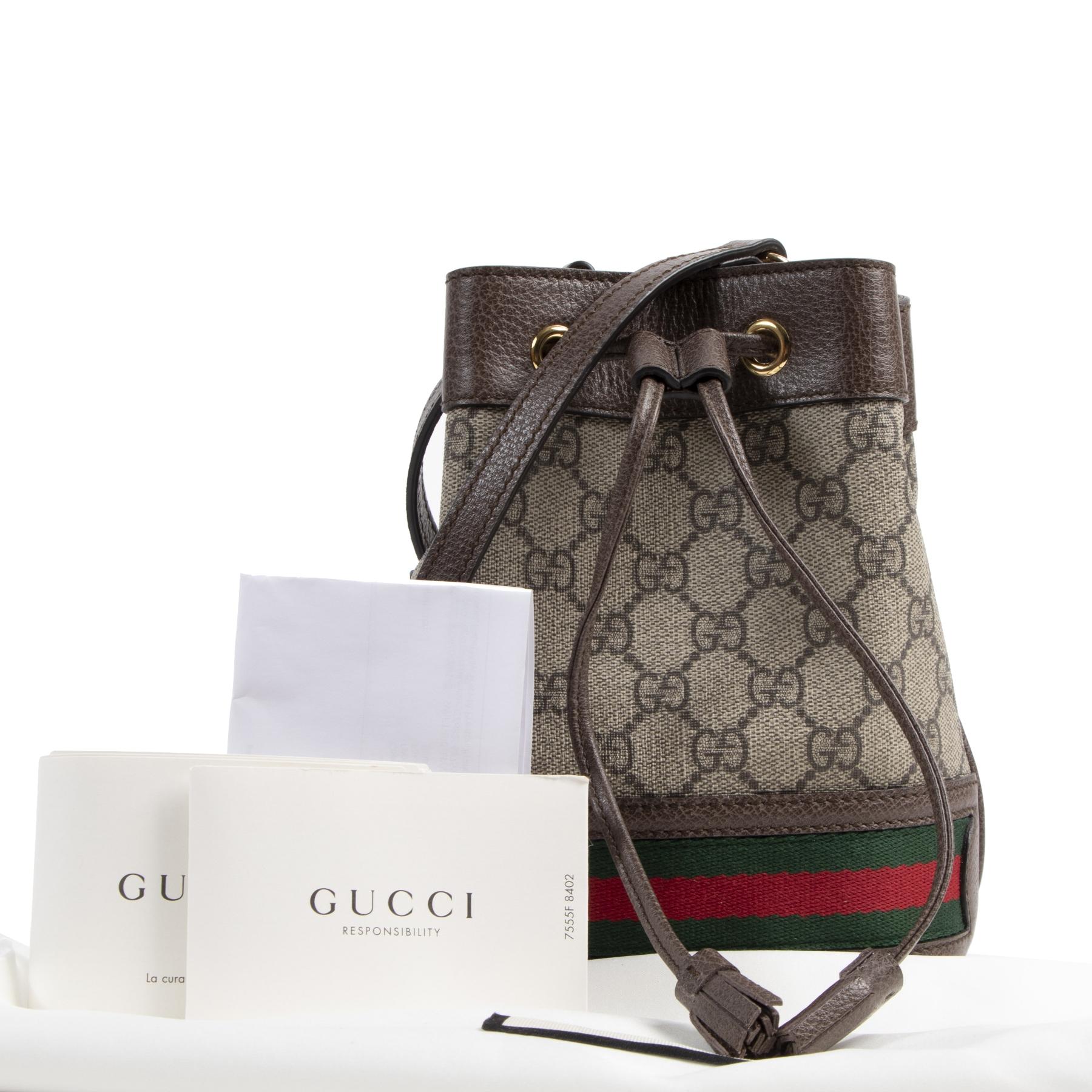Authentieke Tweedehands Gucci Mini GG Ophidia Bucket Bag juiste prijs veilig online shoppen luxe merken webshop winkelen Antwerpen België mode fashion