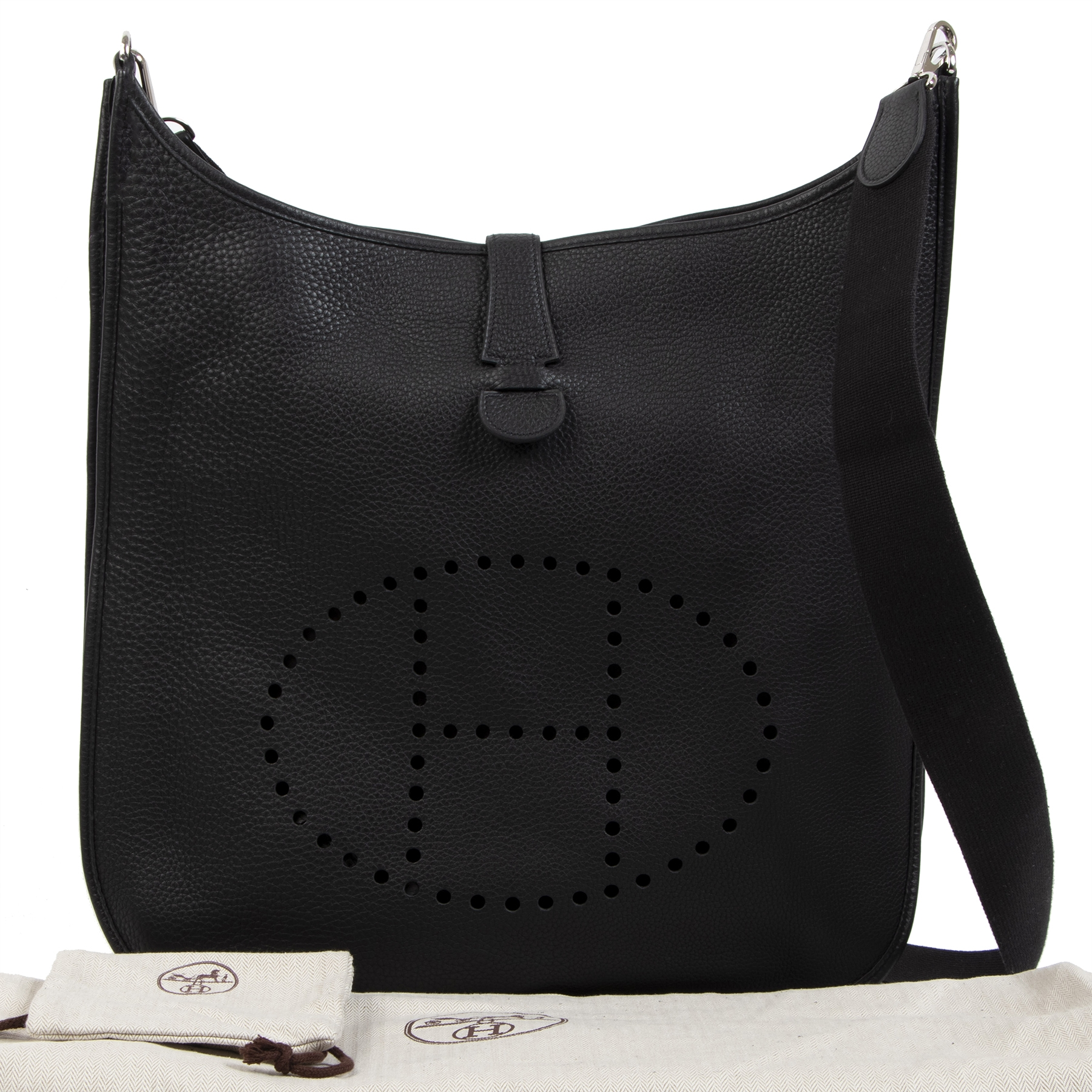 Authentieke tweedehands vintage Hermès Evelyne Black TGM Bag koop online webshop LabelLOV