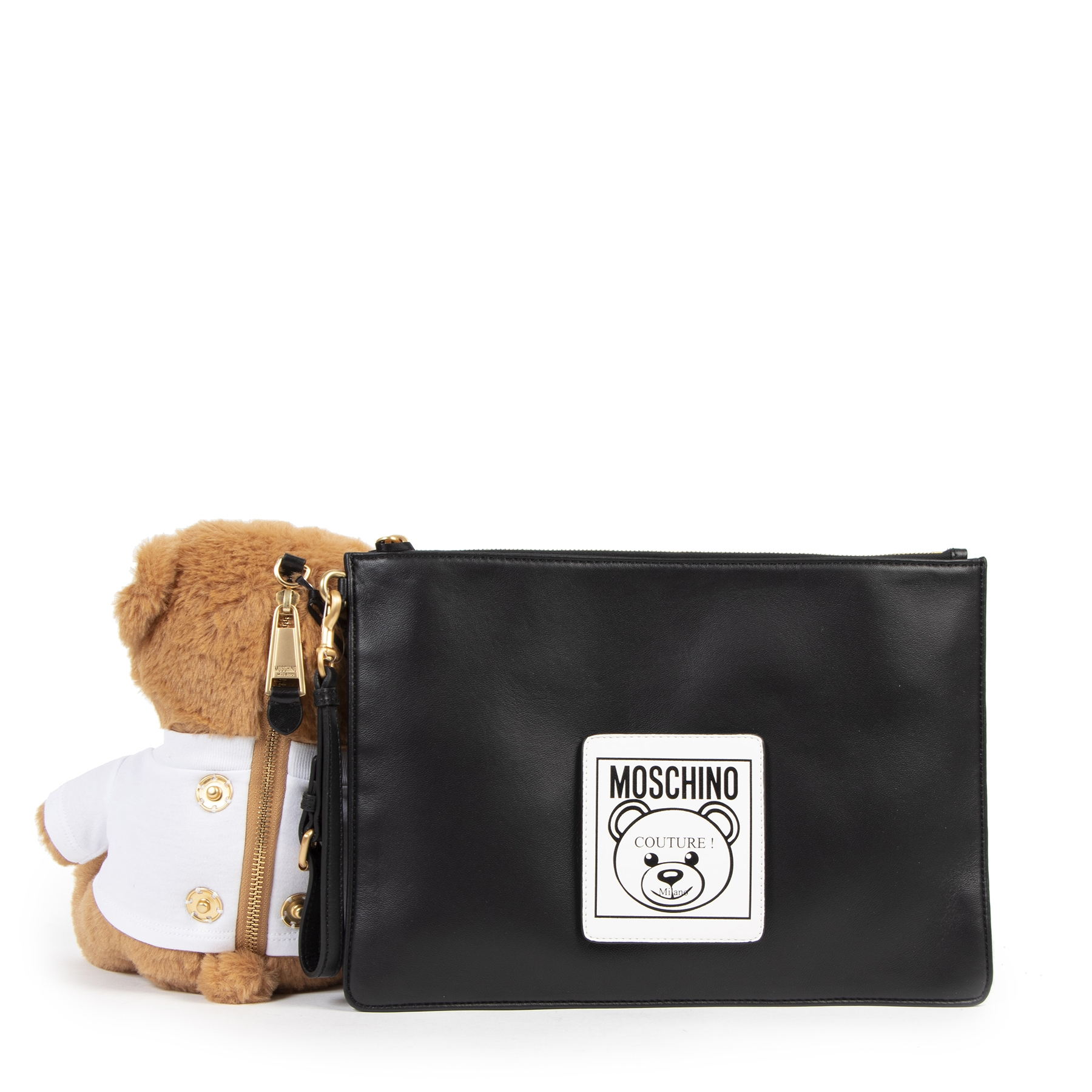 Authentic secondhand Moschino Black Leather Clutch with Teddy Bag designer bags luxury vintage webshop safe secure online shopping