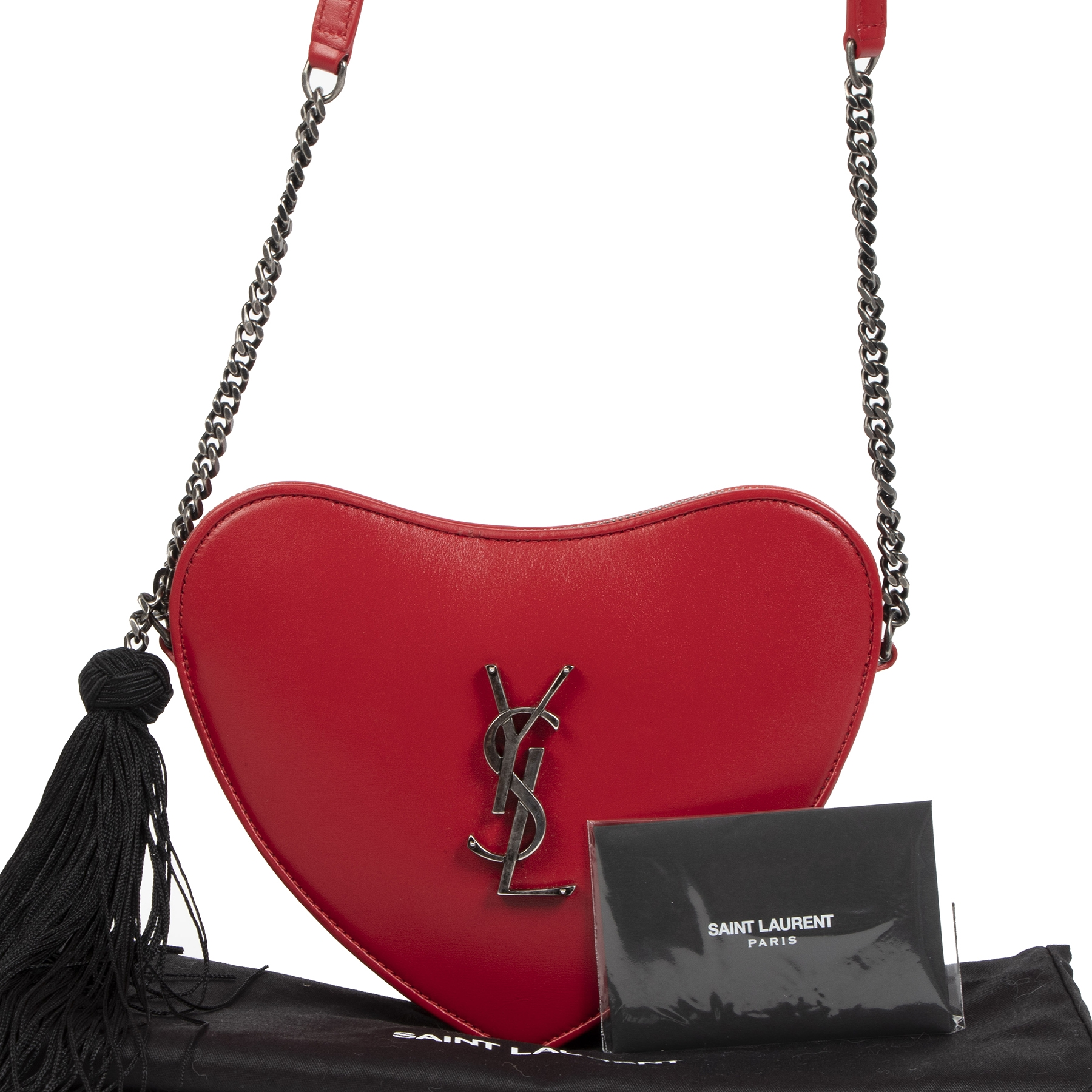Saint Laurent Red Heart Bag bij Labellov tweedehands luxe in Antwerpen