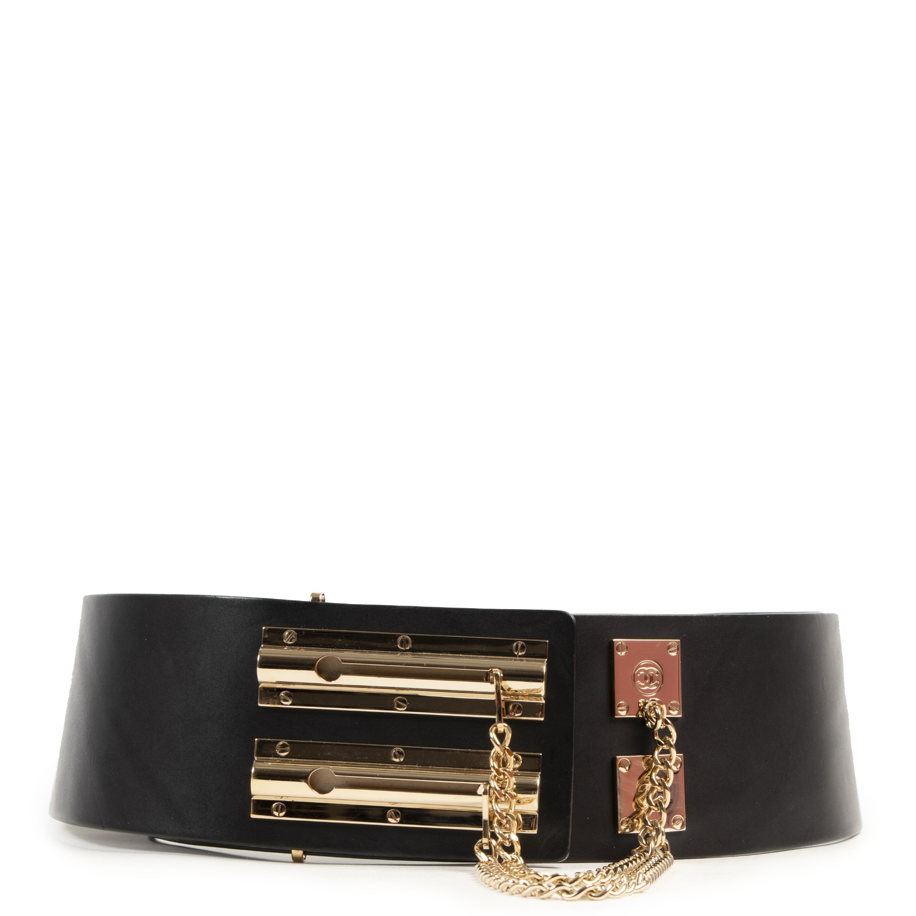 Buy your preloved designer Chanel Wide Black Leather Belt