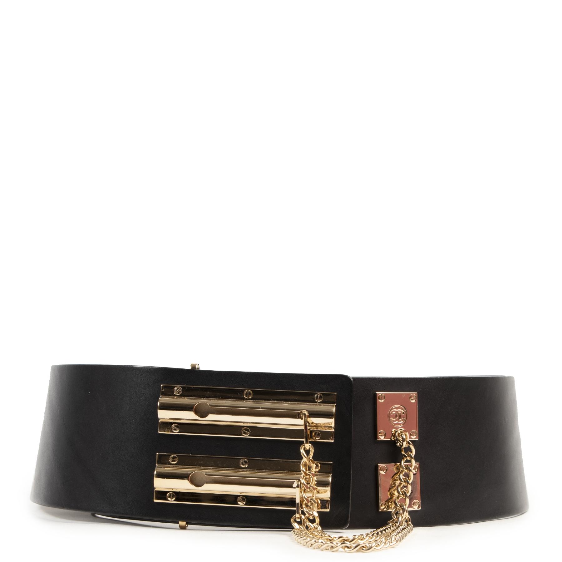 Buy your preloved designer Chanel Wide Black Leather Belt