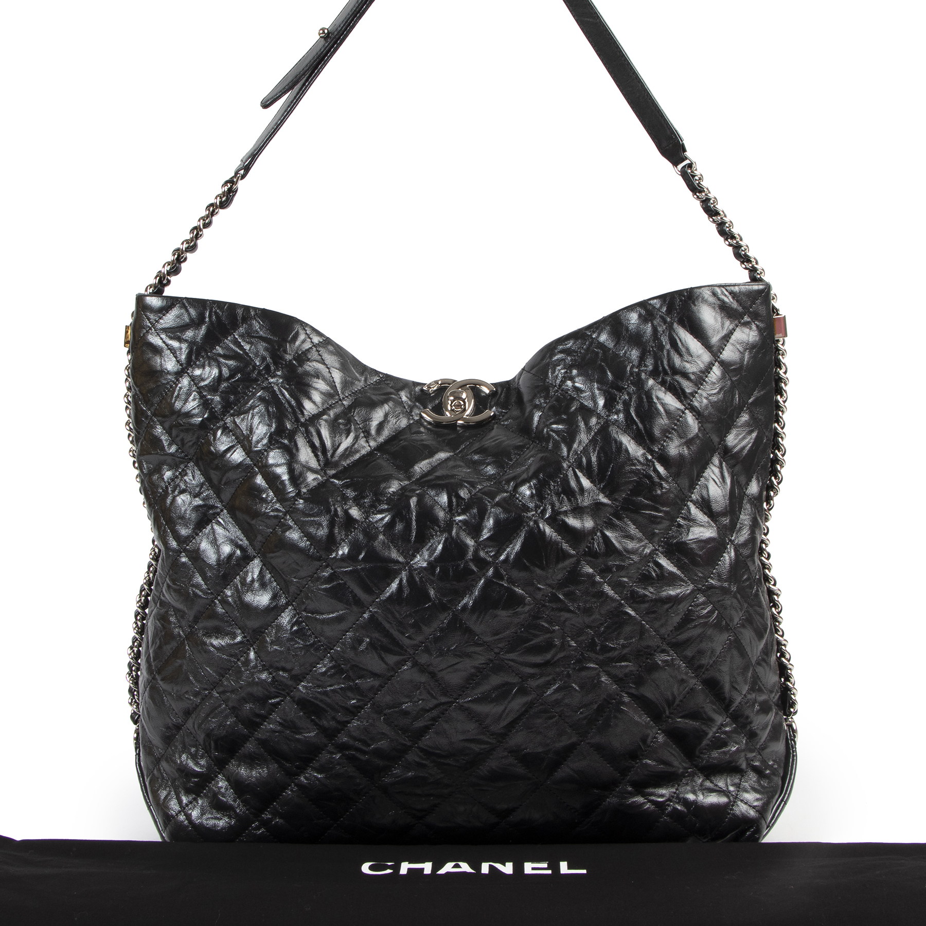 Authentic secondhand Chanel Black Quilted Leather Shopping Tote Bag designer bags fashion luxury vintage webshop safe secure online shopping