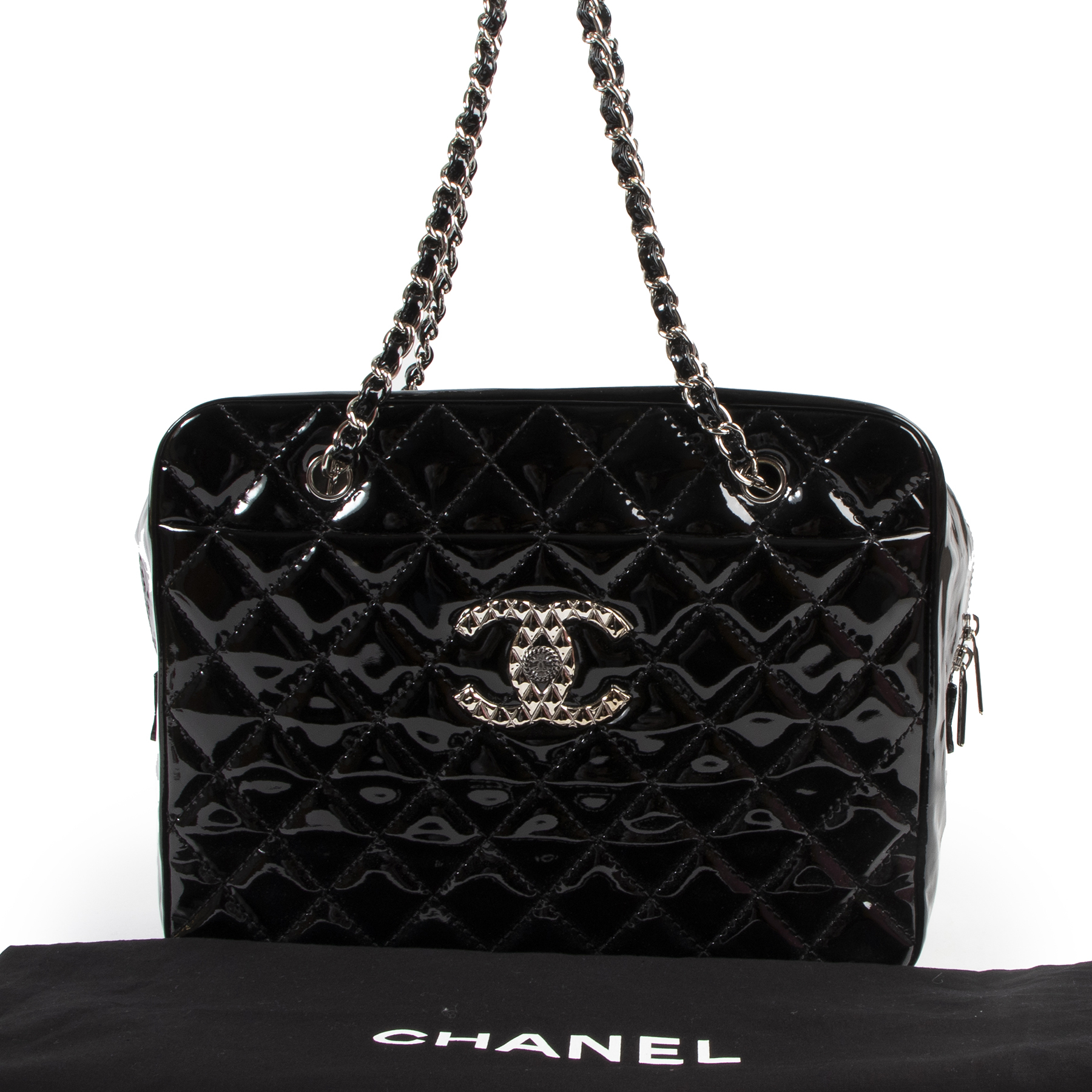 Chanel Black Quilted Patent Leather Shoulder Bag