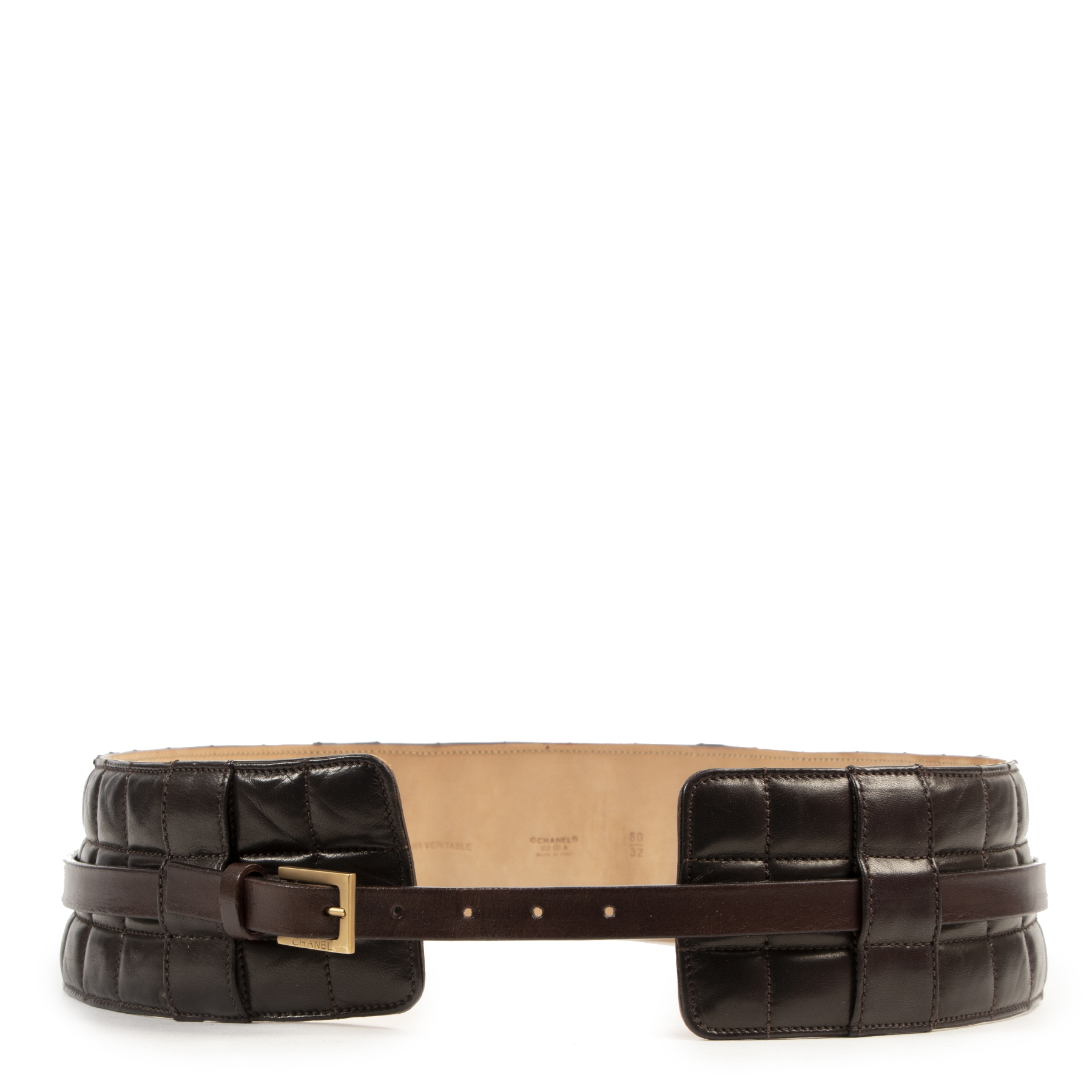 Chanel Brown Matelasse Waist Belt - size 80
