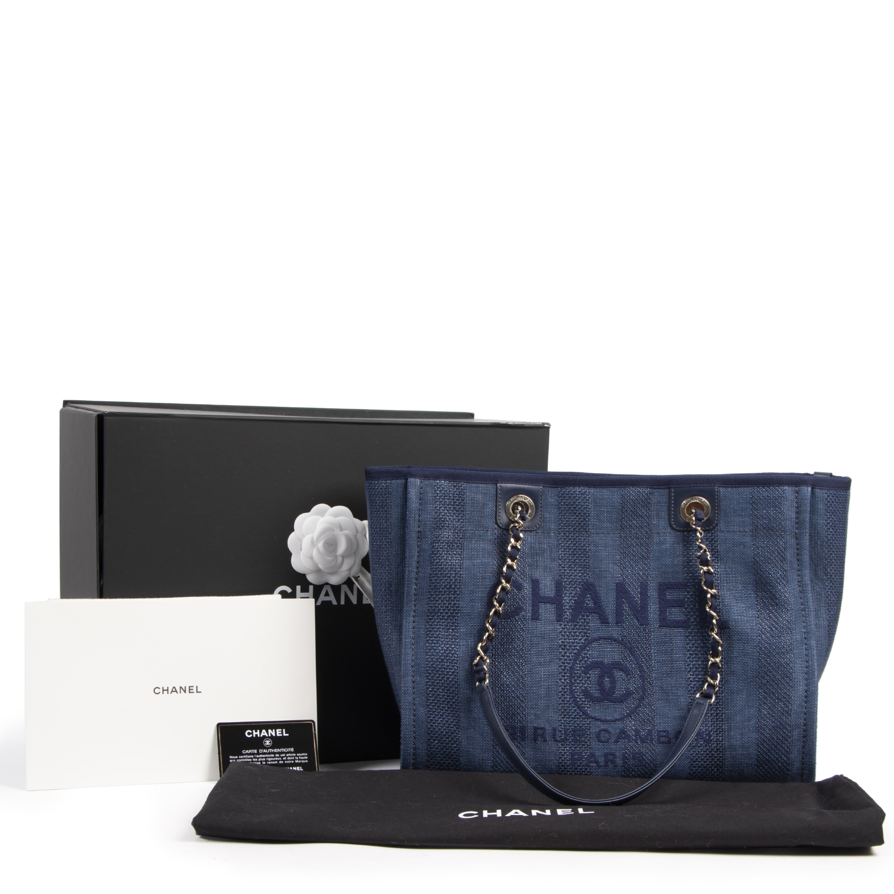Chanel Small Blue Deauville Tote Bag