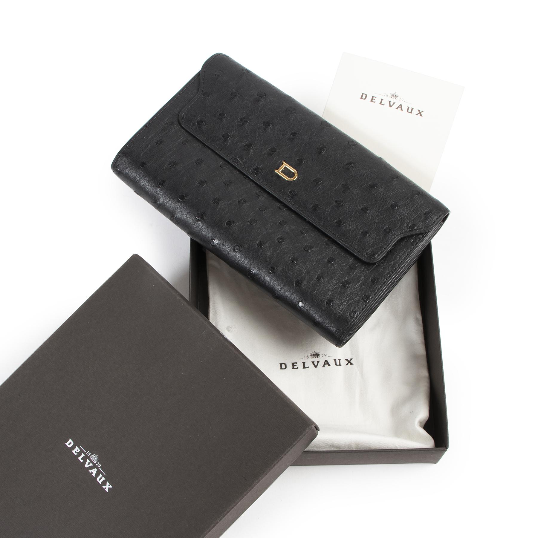 Authentieke Tweedehands Delvaux Black Ostrich Wallet juiste prijs veilig online shoppen luxe merken webshop winkelen Antwerpen België mode fashion