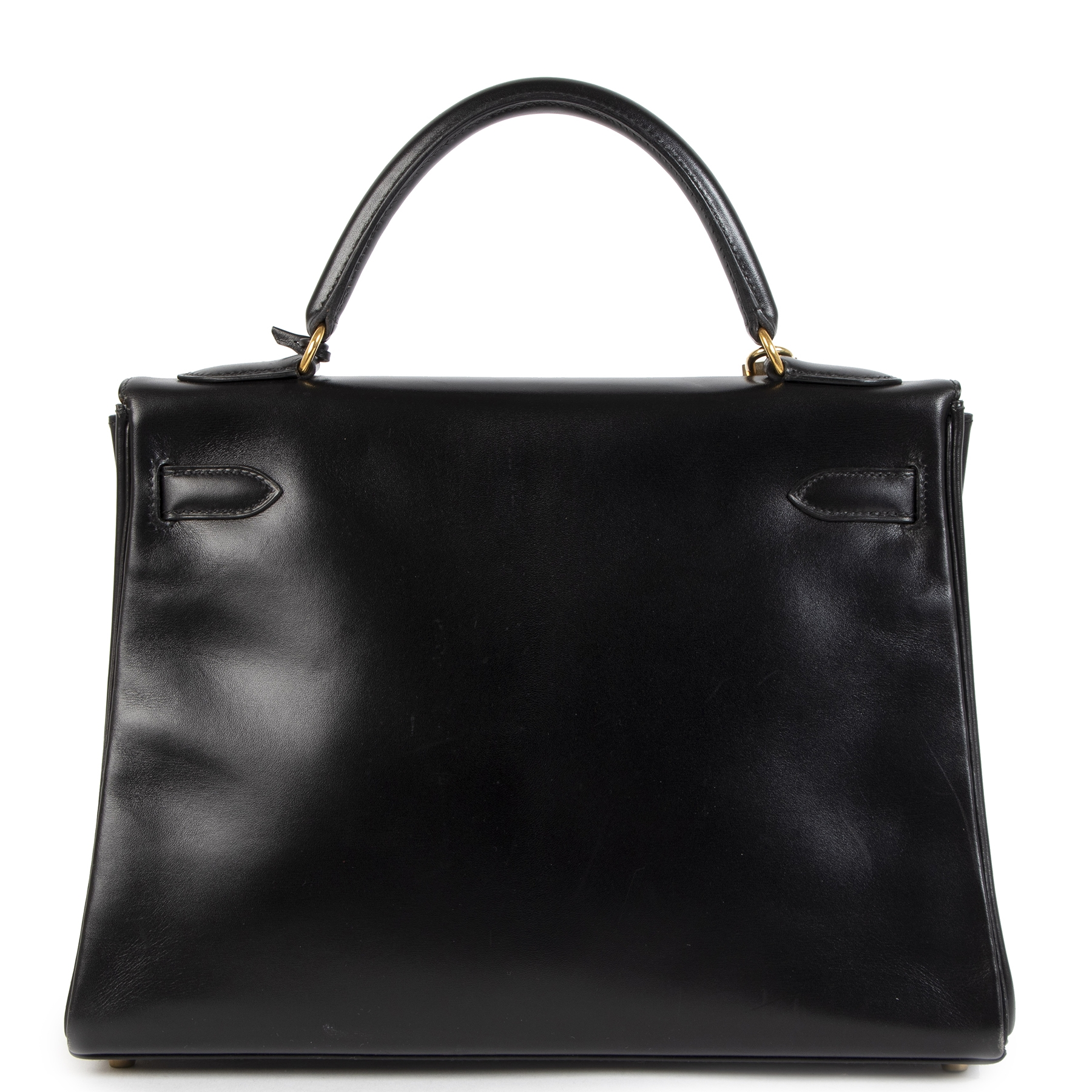 Authentique seconde-main vintage Hermès Kelly 32 Boxcalf Black Bag achète en ligne webshop LabelLOV