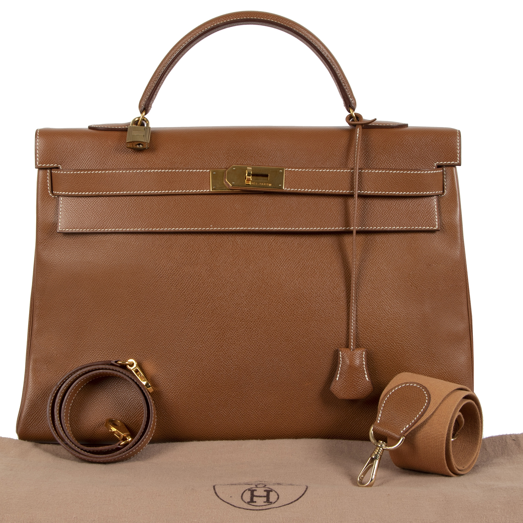 Authentieke tweedehands vintage Hermès Kelly 40 Gold Courchevel koop online webshop LabelLOV