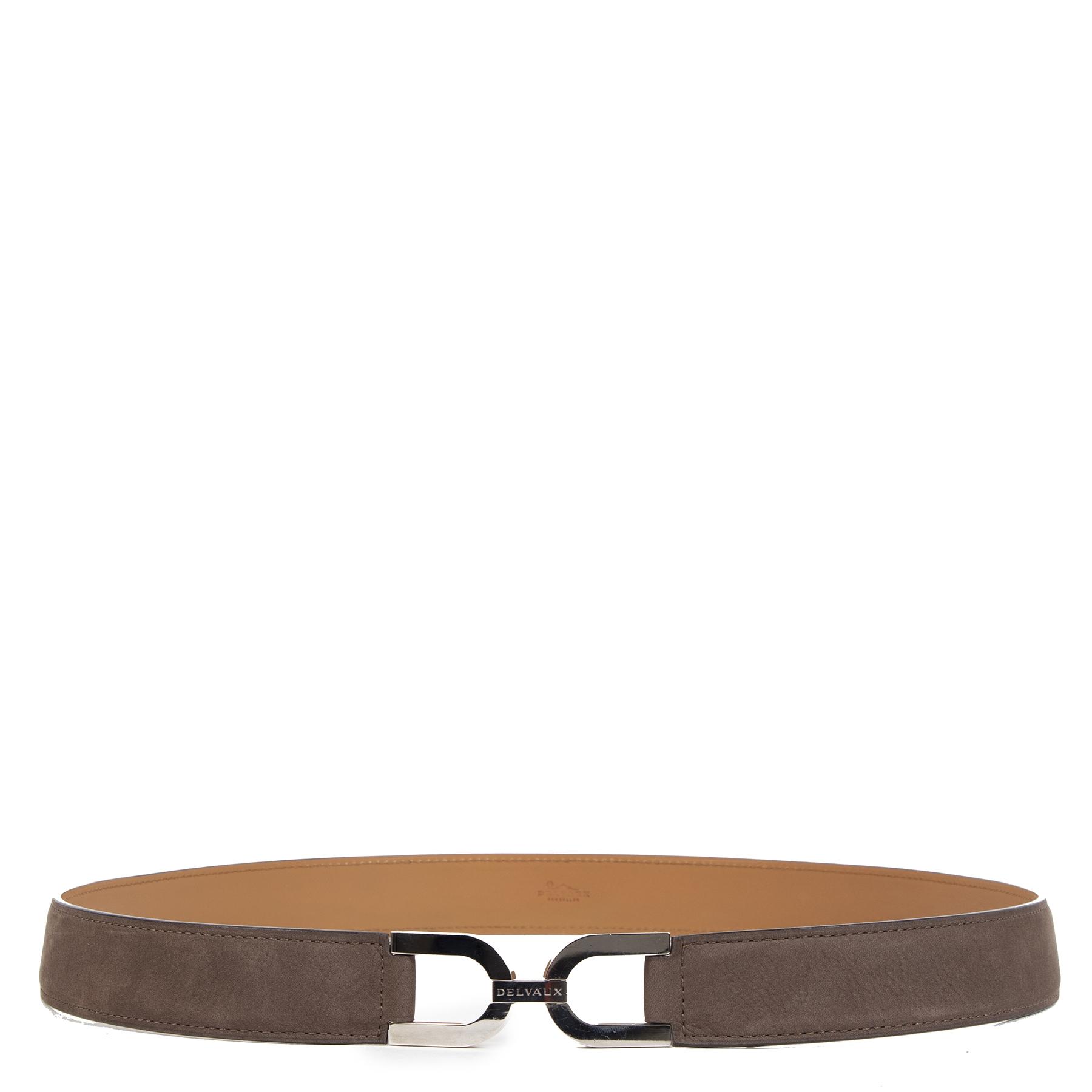 Authentieke Tweedehands Delvaux Taupe Leather Belt - Size 85 juiste prijs veilig online shoppen luxe merken webshop winkelen Antwerpen België mode fashion