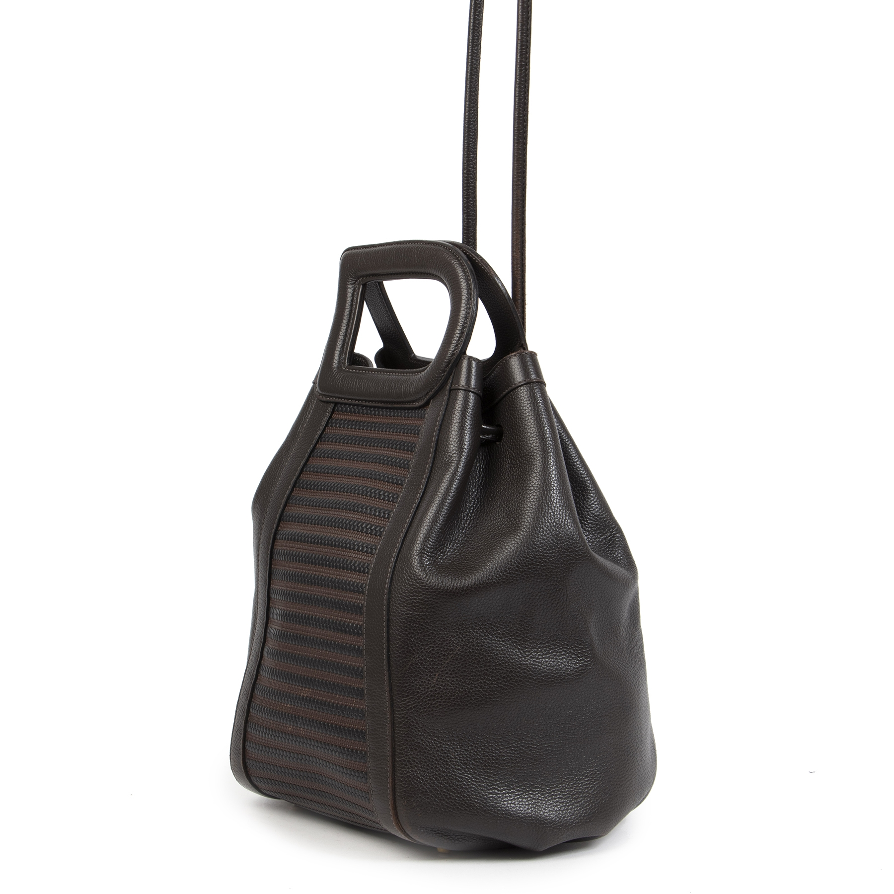 Authentic second-hand vintage Delvaux Caraibes Brown Toile De Cuir Bag buy online webshop LabelLOV