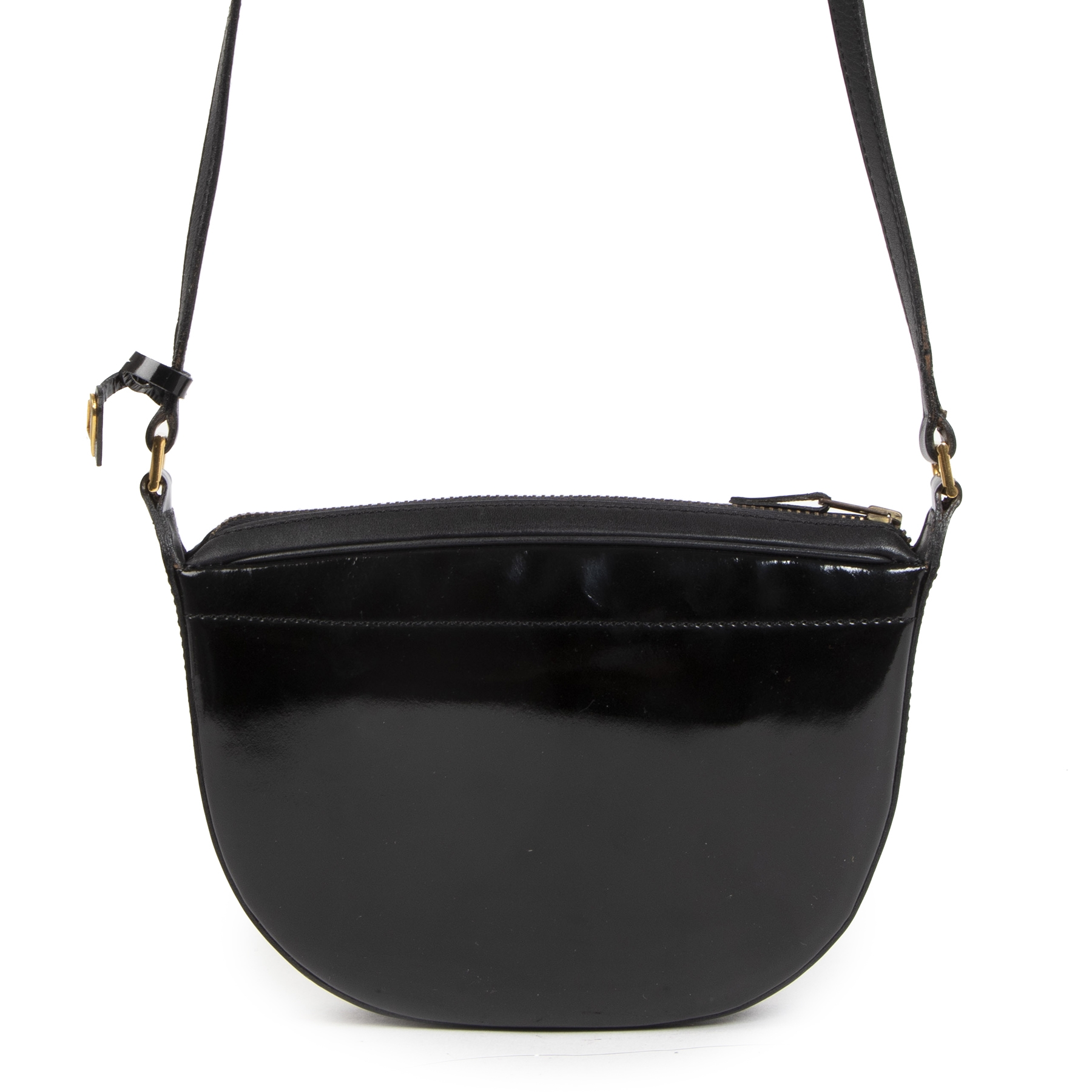 Authentieke tweedehands vintage Delvaux Black Patent Leather Crossbody Bag koop online webshop labelLOV