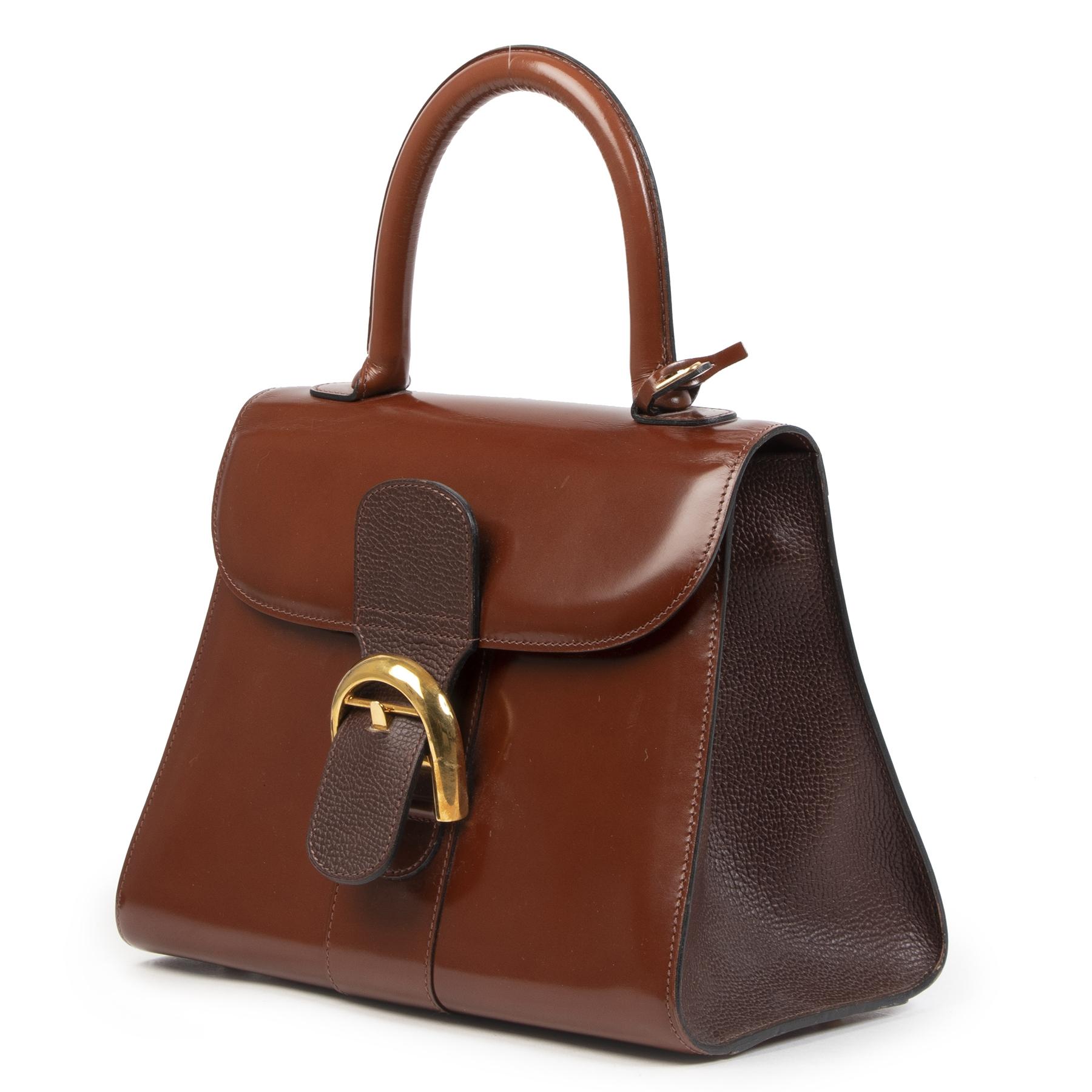 Delvaux Brown Bicolor Patent Brillant PM Bag koop online tegen de beste prijs