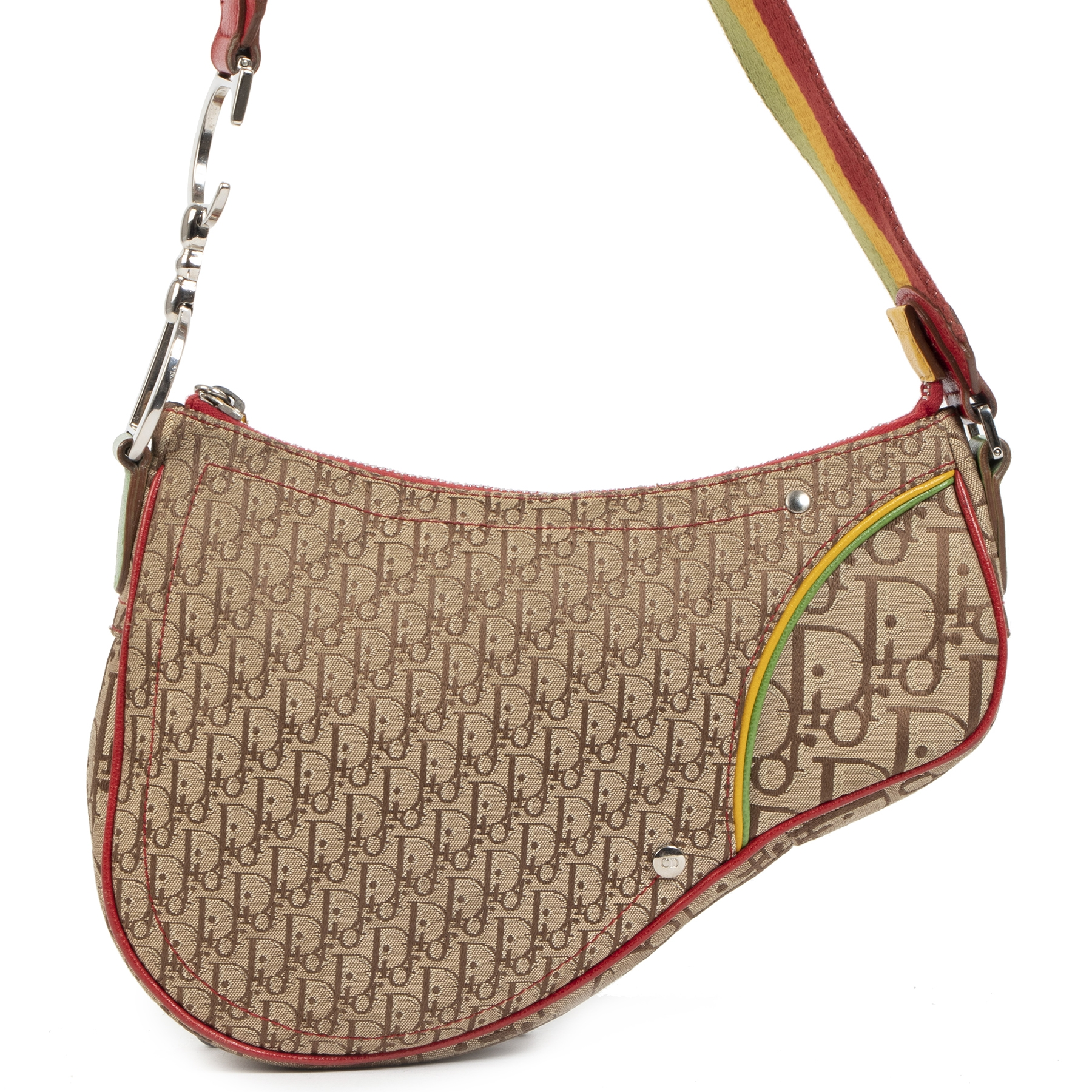Christian Dior Multicolor Rasta Trotter Canvas Saddle Bag te koop bij Labellov