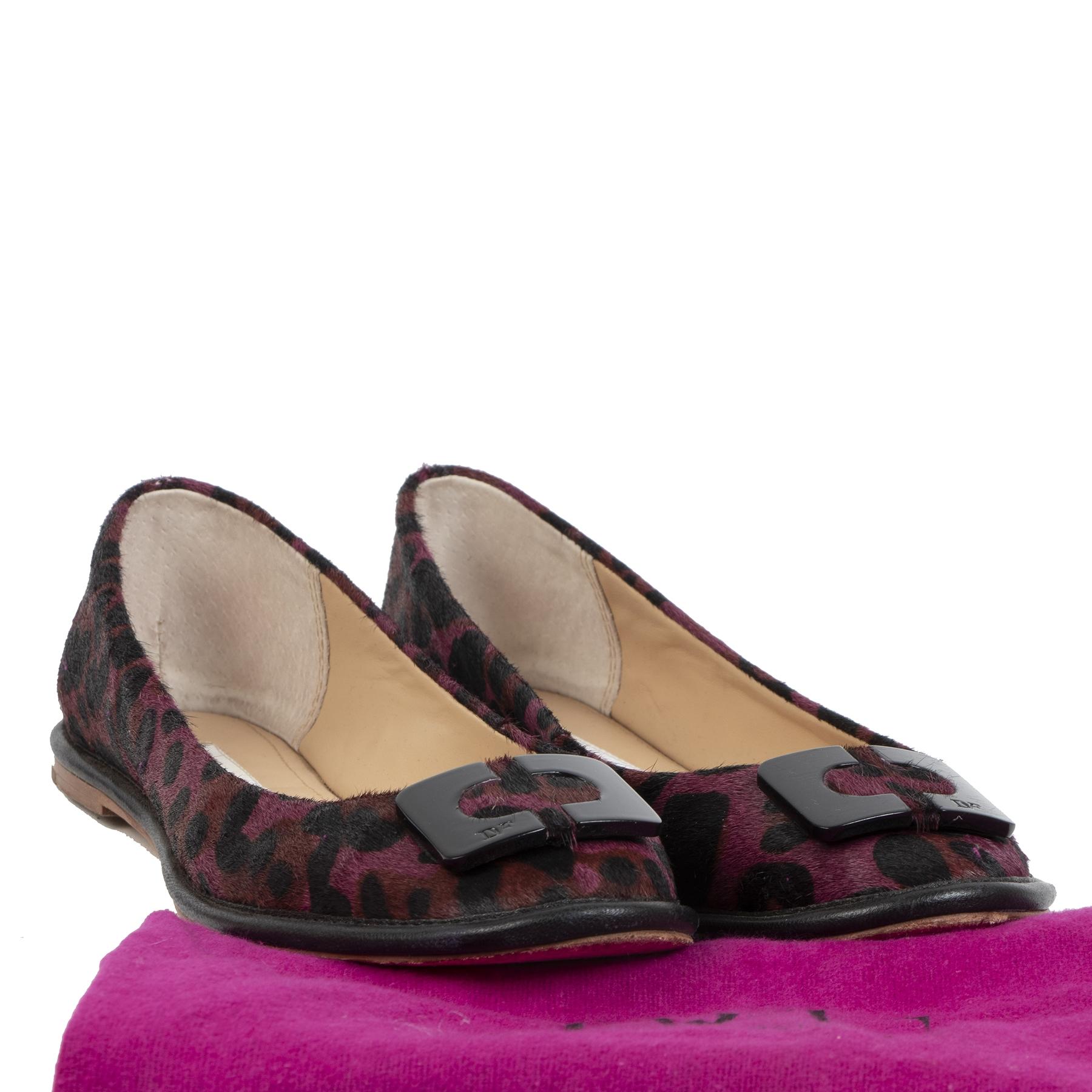 Authentique seconde-main vintage Diane Von Furstenberg Leopard Ballet Flats - Size 40 achète en ligne webshop LabelLOV