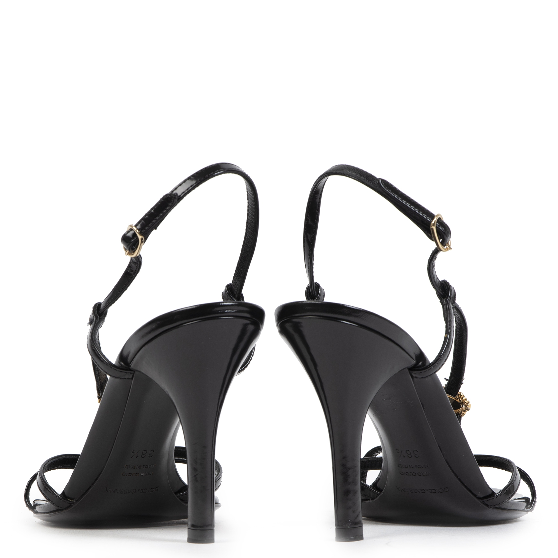 Authentieke tweedehands vintage Dolce & Gabbana Black Strappy Sandals - Size 38,5 koop online webshop LabelLOV