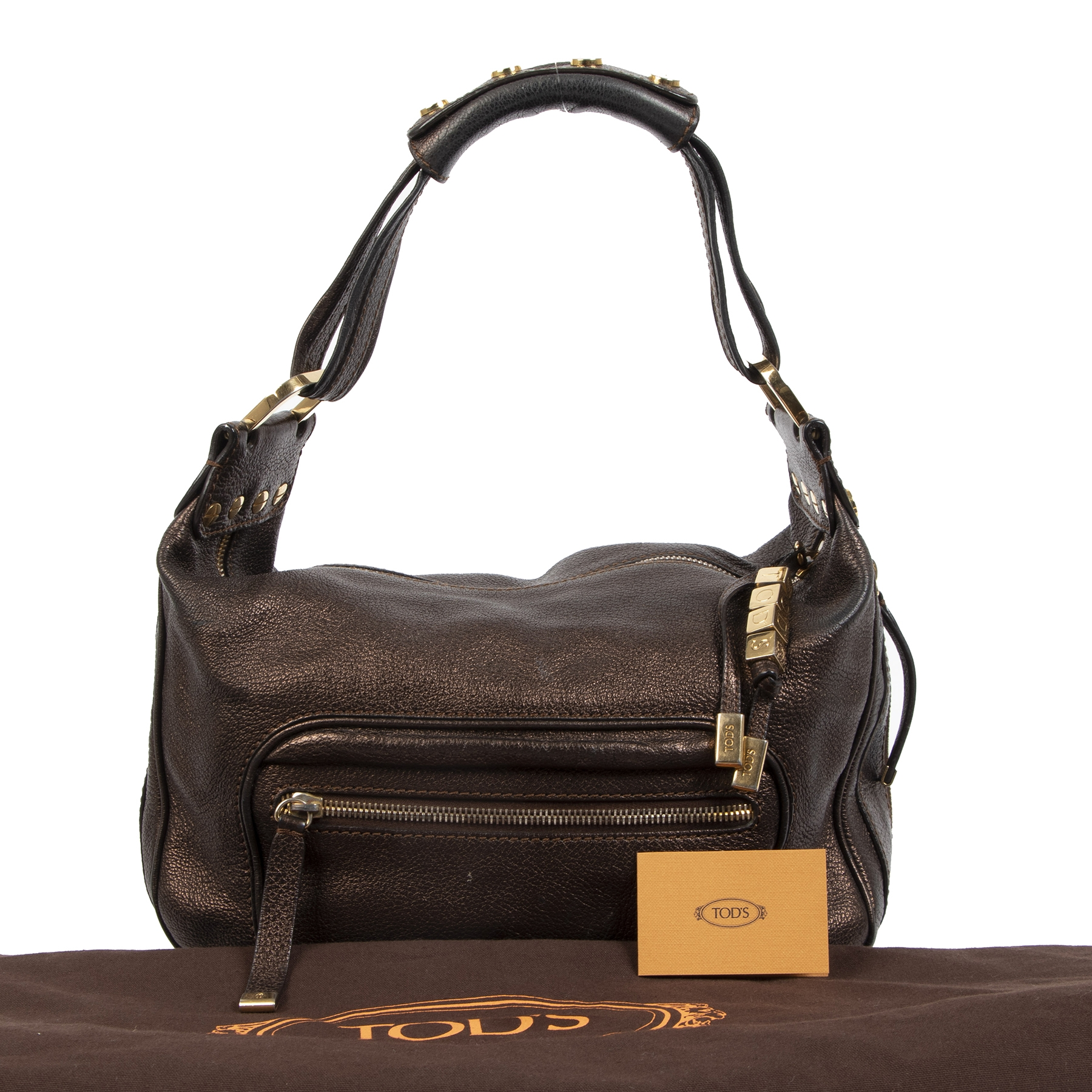 Authentieke tweedehands vintage Tods Bronze Metallix Shoulder Bag koop online webshop LabelLOV