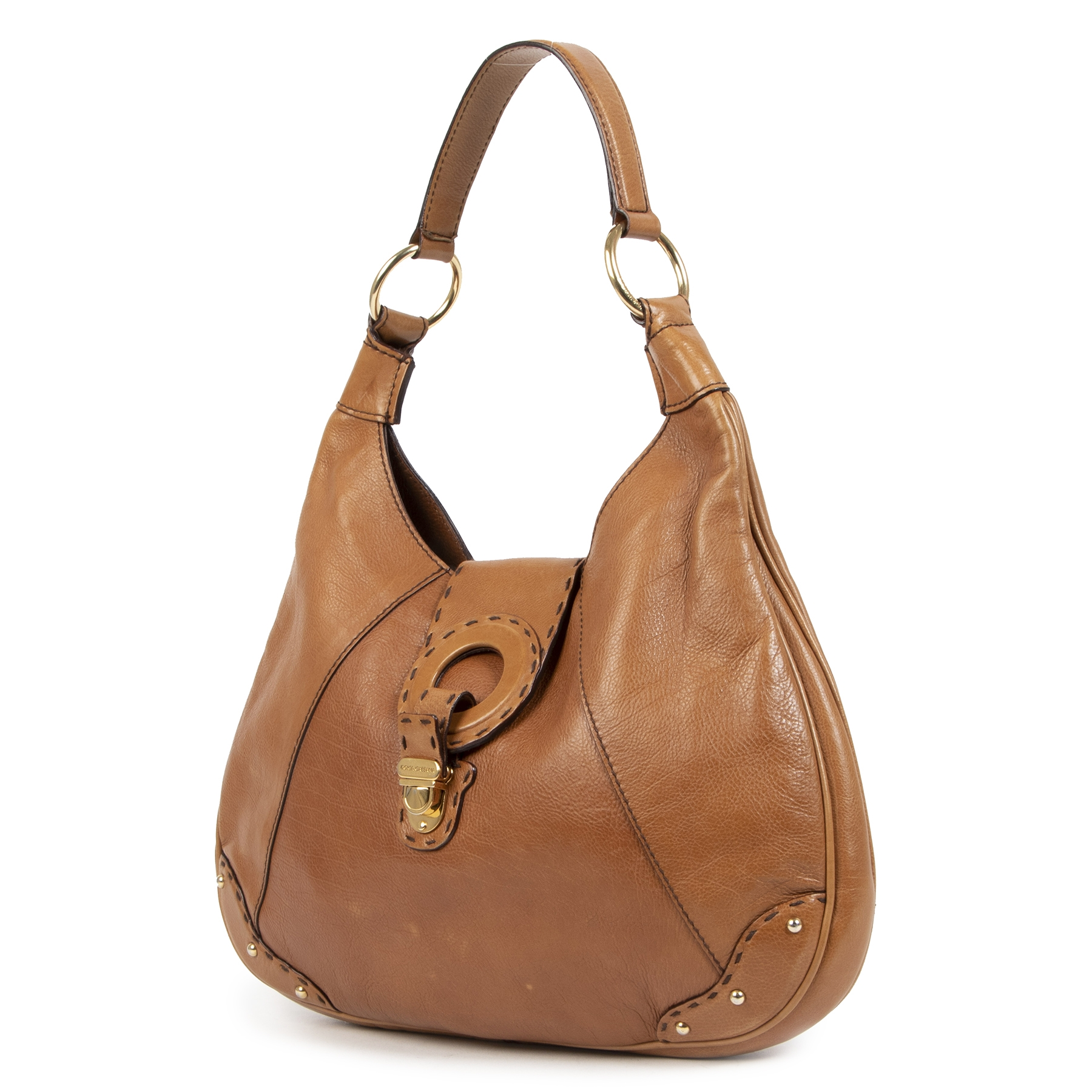 Authentique seconde-main vintage Dolce & Gabbana Camel Shoulder Bag achète en ligne webshop LabelLOV