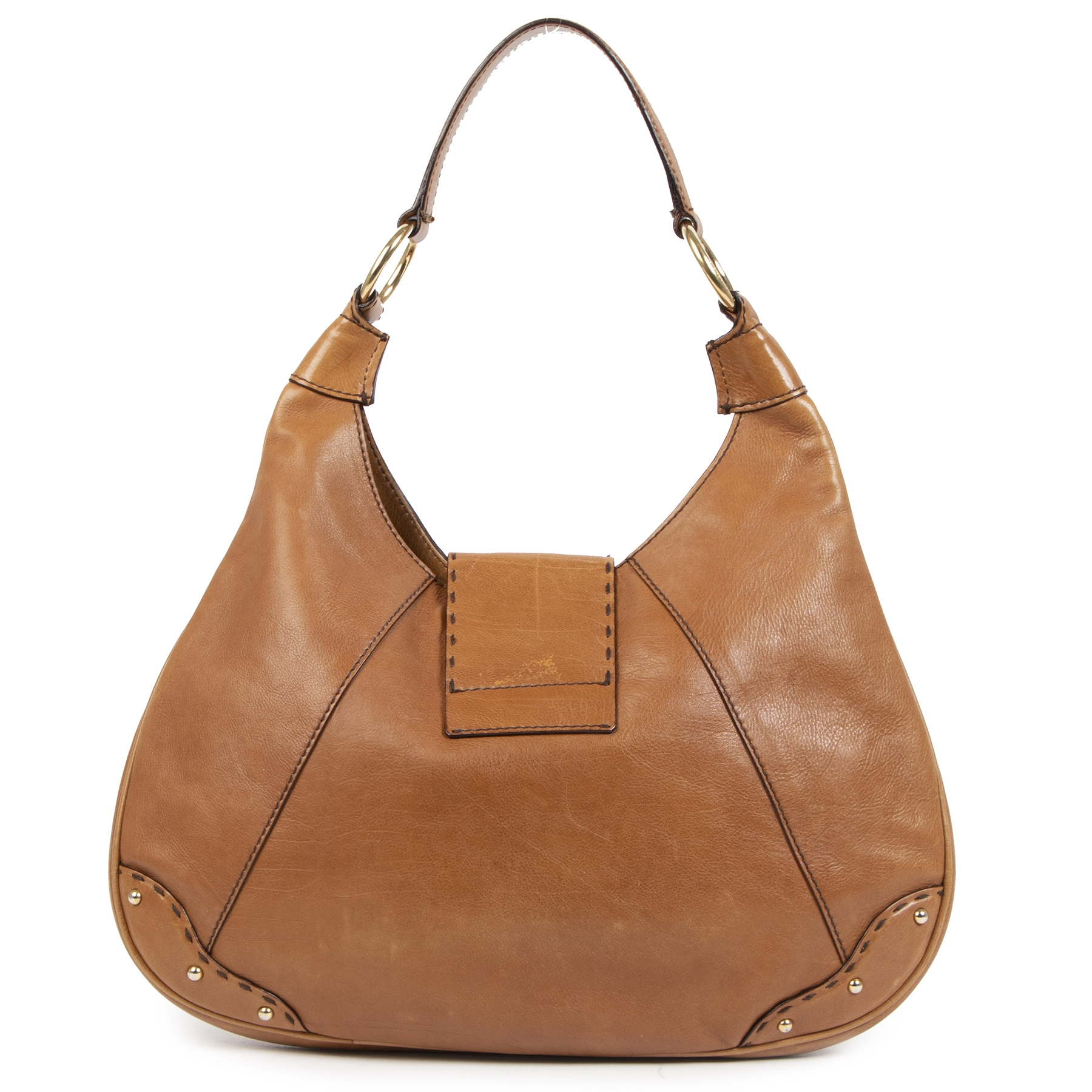 Authentieke tweedehands vintage Dolce & Gabbana Camel Shoulder Bag koop online webshop LabelLOV