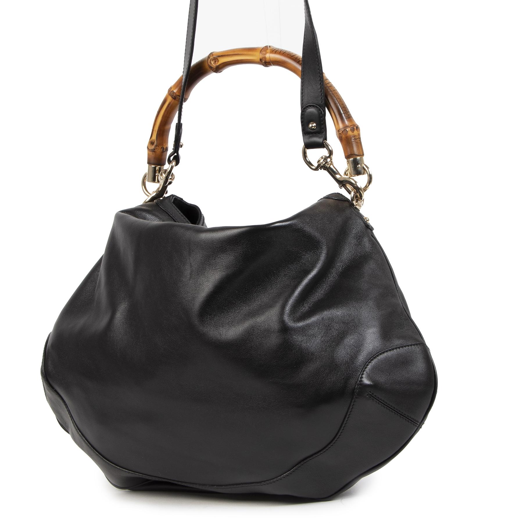 Authentieke Tweedehands Gucci Black Leather Diana Bamboo Handle Bag juiste prijs veilig online shoppen luxe merken webshop winkelen Antwerpen België mode fashion