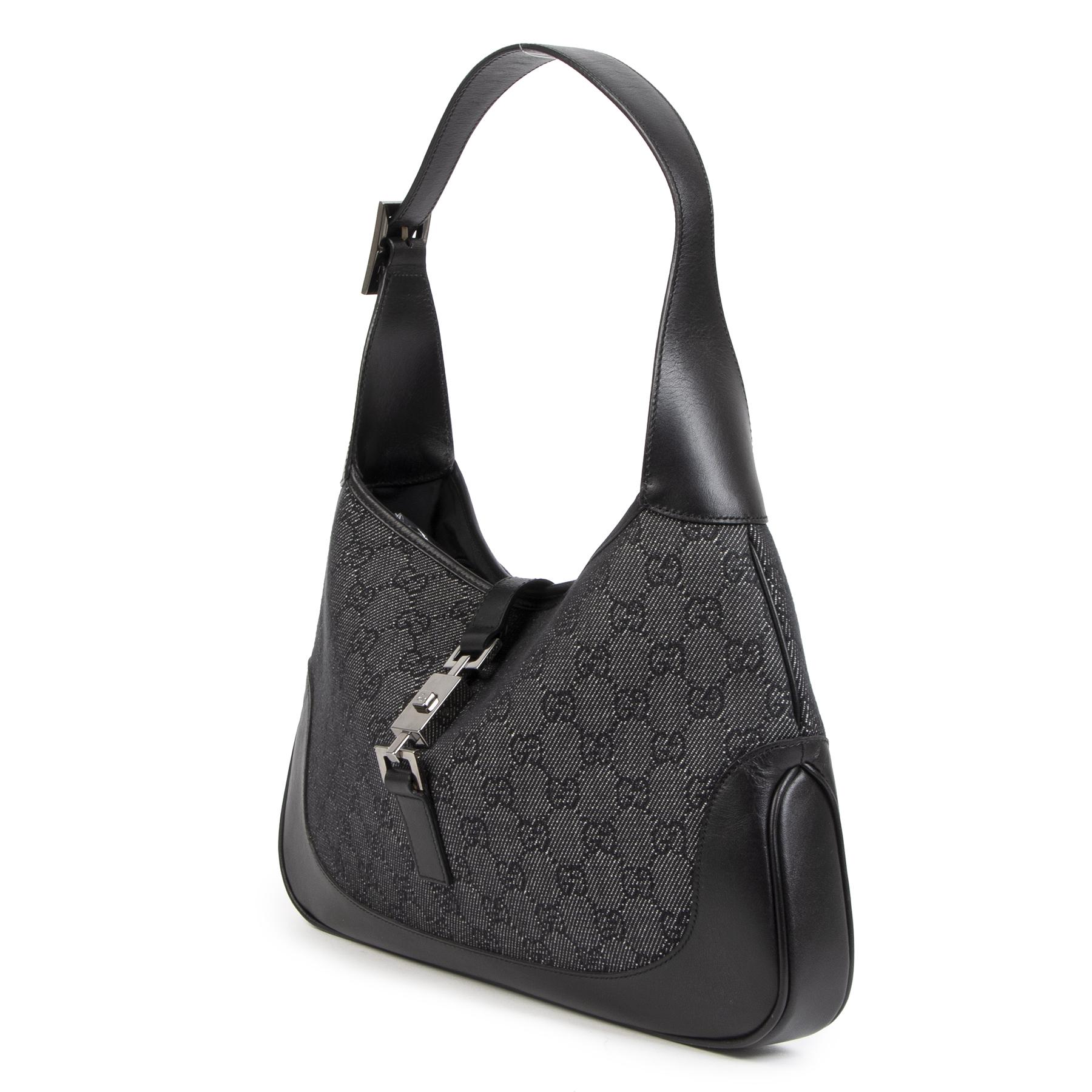 Authentieke Tweedehands Gucci Jackie Black Gg Monogram Canvas Leather Shoulder Bag juiste prijs veilig online shoppen luxe merken webshop winkelen Antwerpen België mode fashion
