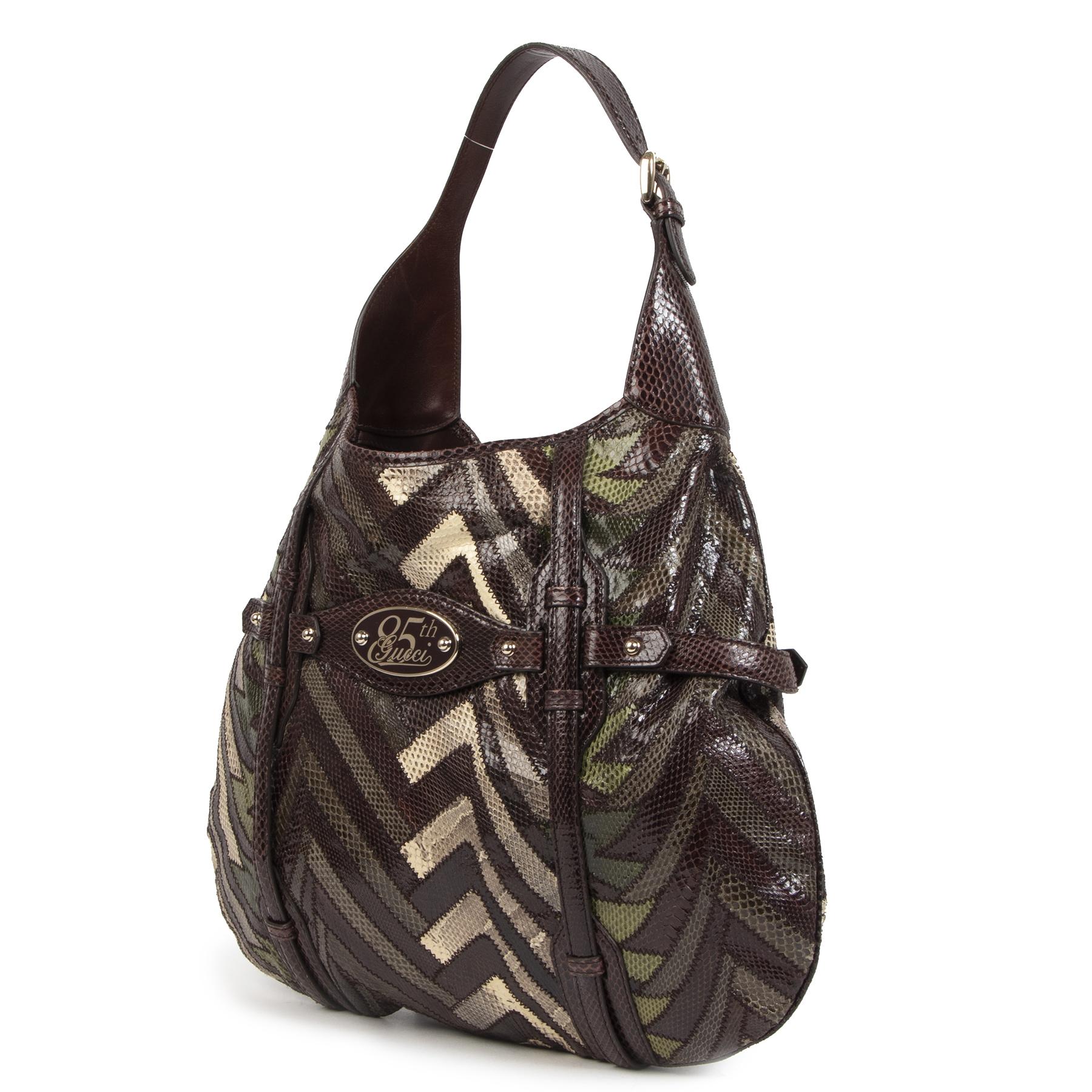 Authentieke Tweedehands Gucci 85th Anniversary Limited Edition Python Horsebit Hobo juiste prijs veilig online shoppen luxe merken webshop winkelen Antwerpen België mode fashion