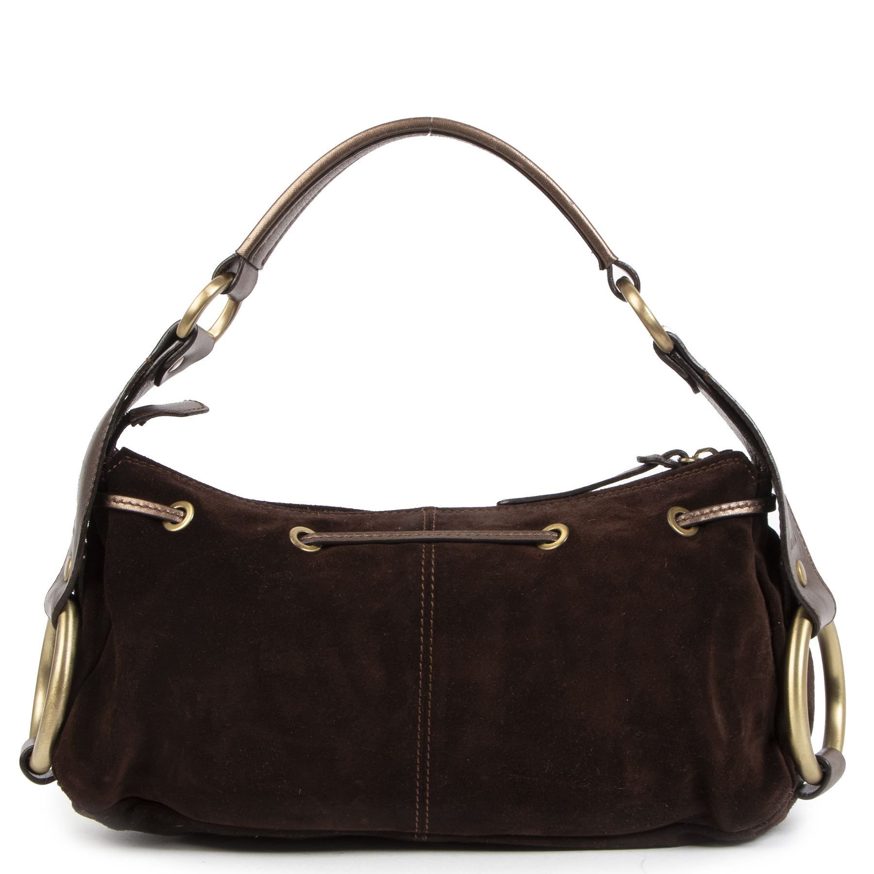 Authentique seconde-main vintage Hogan Suede Brown Shoulder Bag achète en ligne webshop LabelLOV