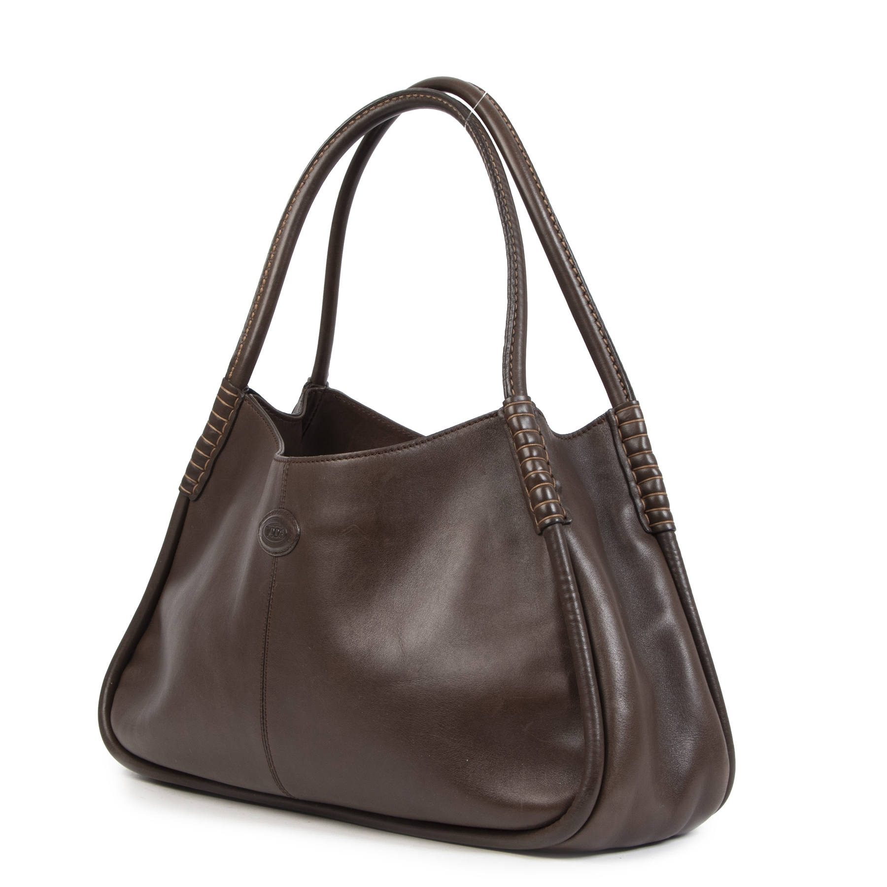 Authentique seconde-main vintage Tod's Dark Brown Leather Shoulder Bag achète en ligne webshop LabelLOV
