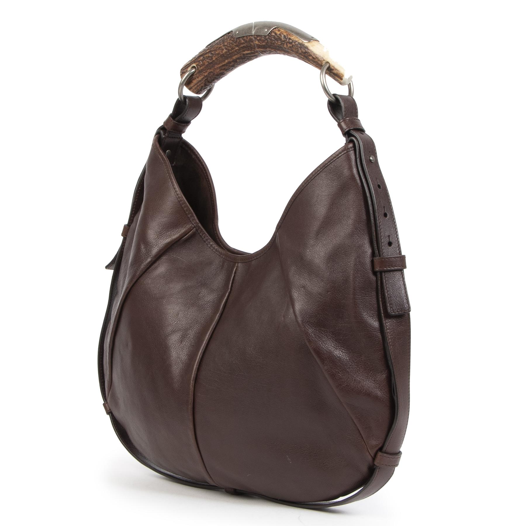 Authentieke Tweedehands Yves Saint Laurent Mombasa Horn Handle Brown Leather Shoulder Bag juiste prijs veilig online shoppen luxe merken webshop winkelen Antwerpen België mode fashion