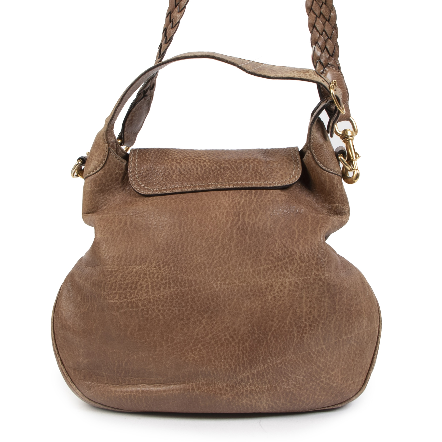 Authentieke tweedehands vintage Gucci Camel New Pelham Hobo Bag koop online webshop LabelLOV