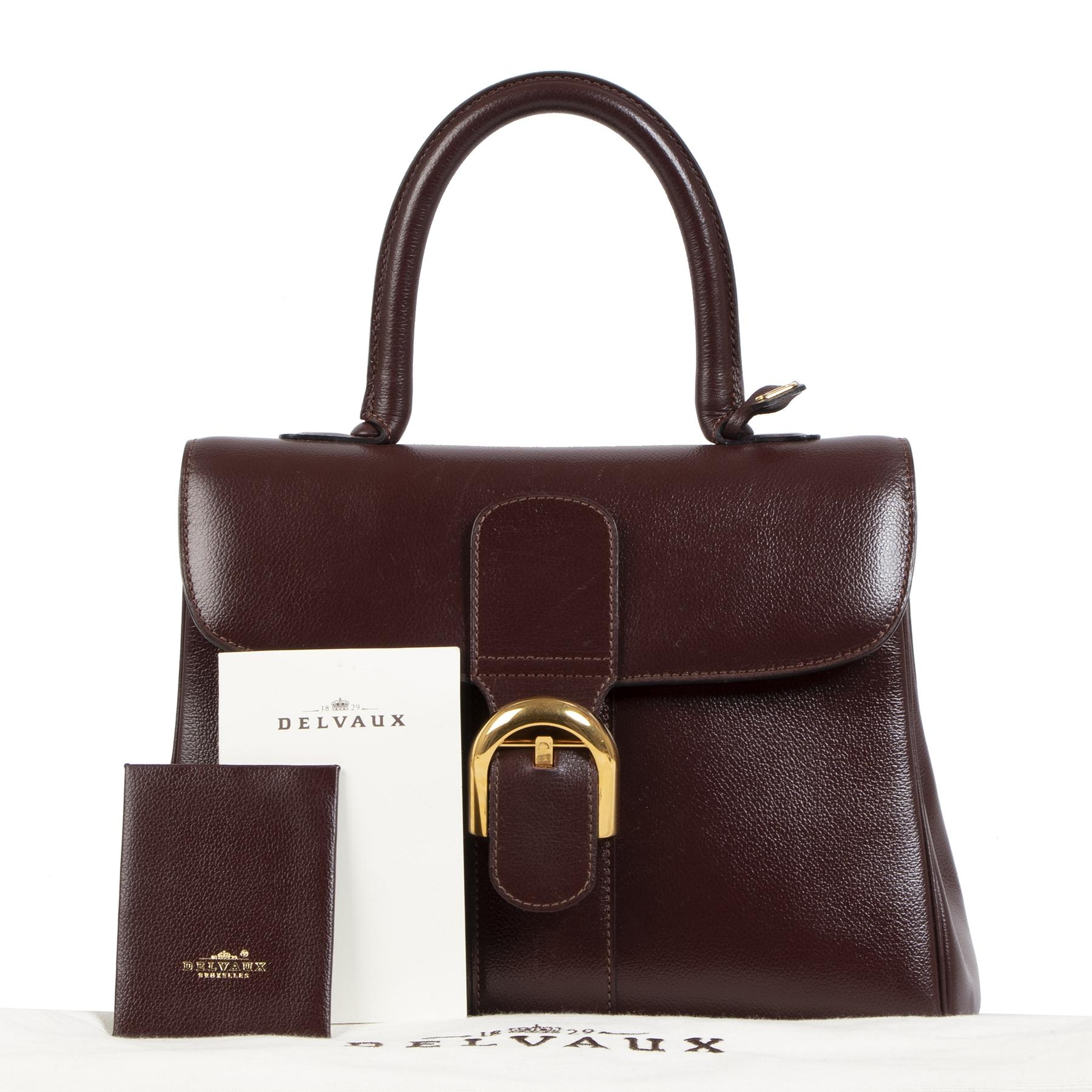 Authentieke tweedehands vintage Delvaux Burgundy Brown Brillant MM Bag koop online webshop LabelLOV