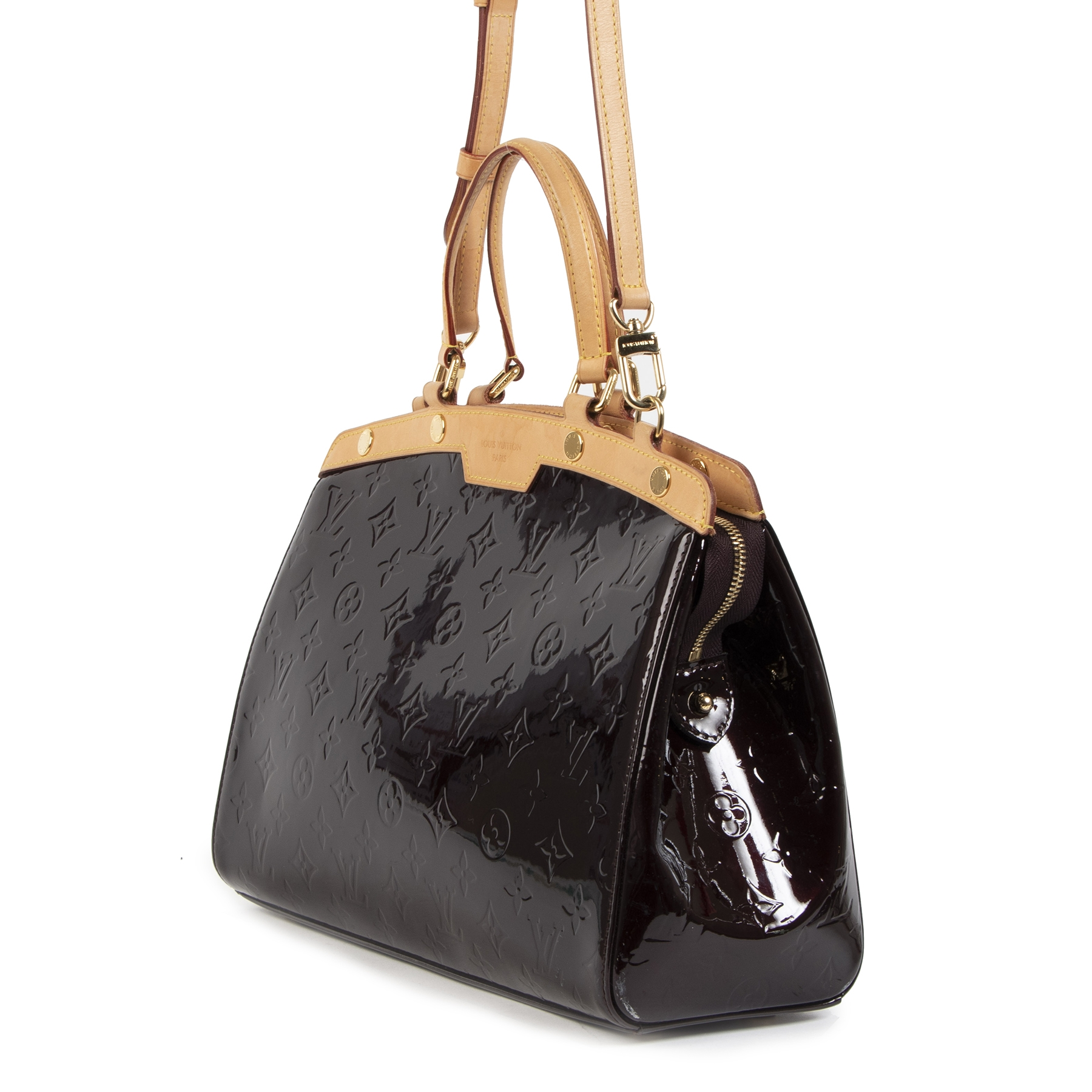 Authentieke Tweedehands Louis Vuitton Amarante Monogram Vernis Brea MM Tote Bag juiste prijs veilig online shoppen luxe merken webshop winkelen Antwerpen België mode fashion