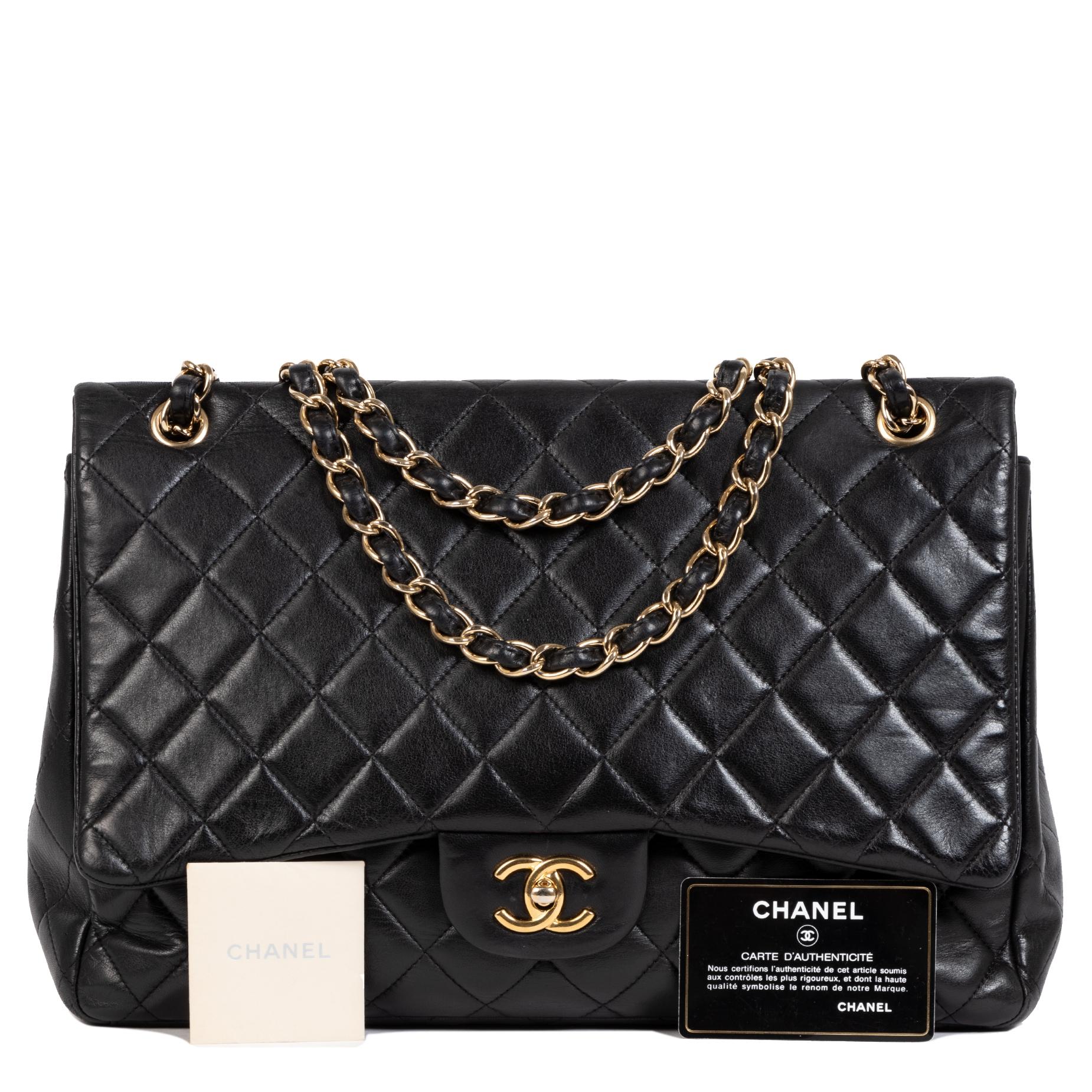 Chanel Classic Black Lambskin Maxi Single-Flap Bag