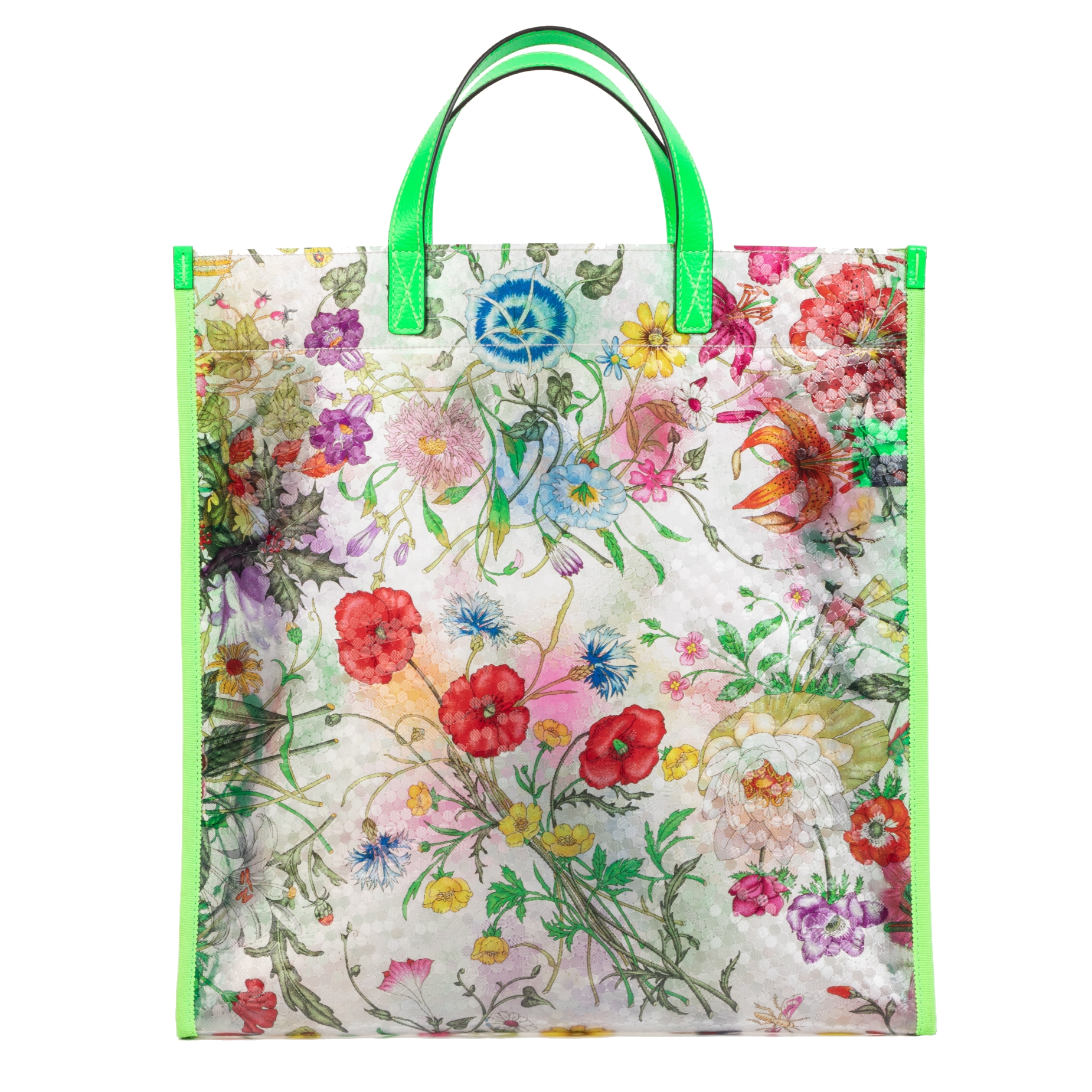 We buy and sell your authentic designer Gucci Floral Print Neon Green Vinyl Tote Bag for the best price at Labellov