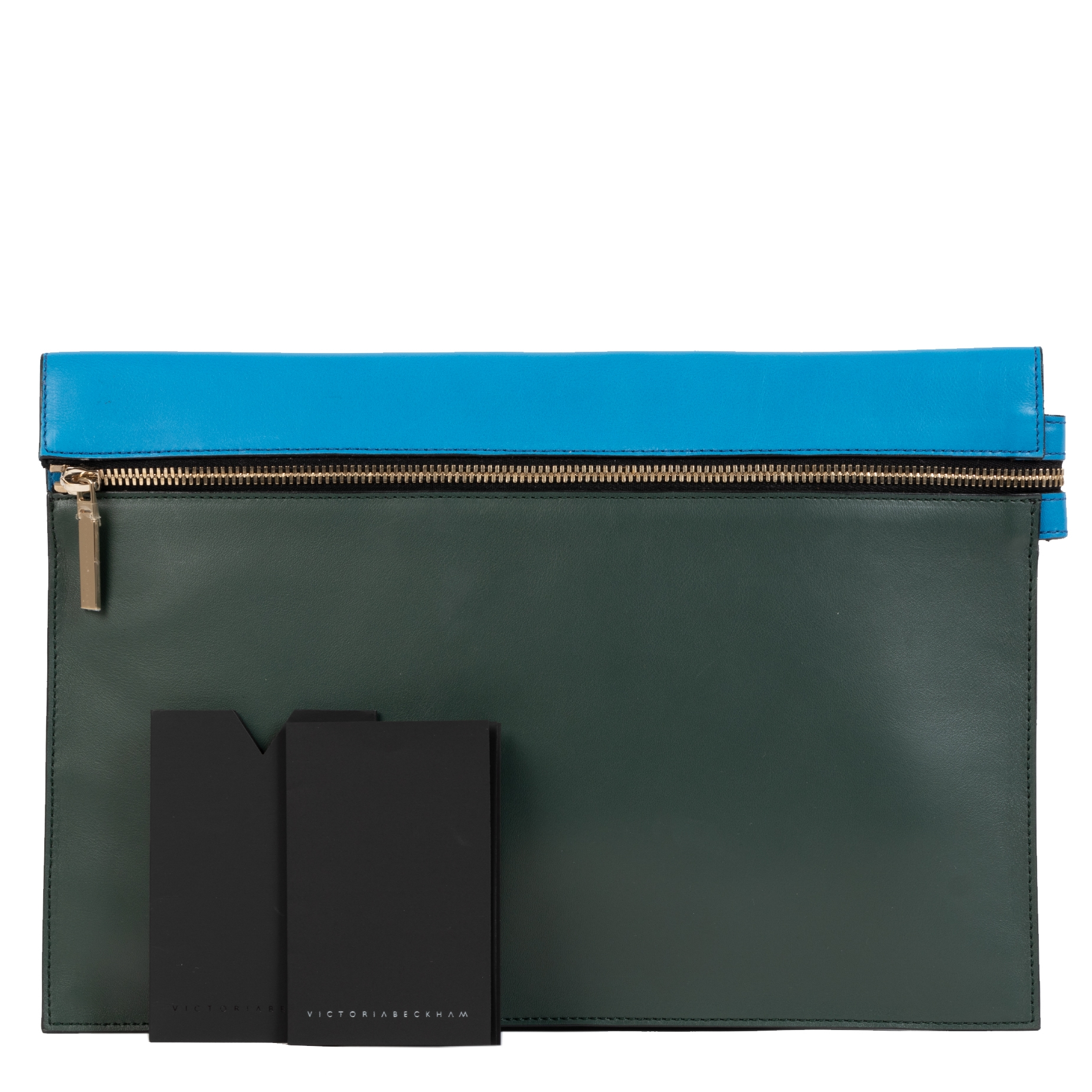 Victoria Beckham Green Blue Leather Clutch