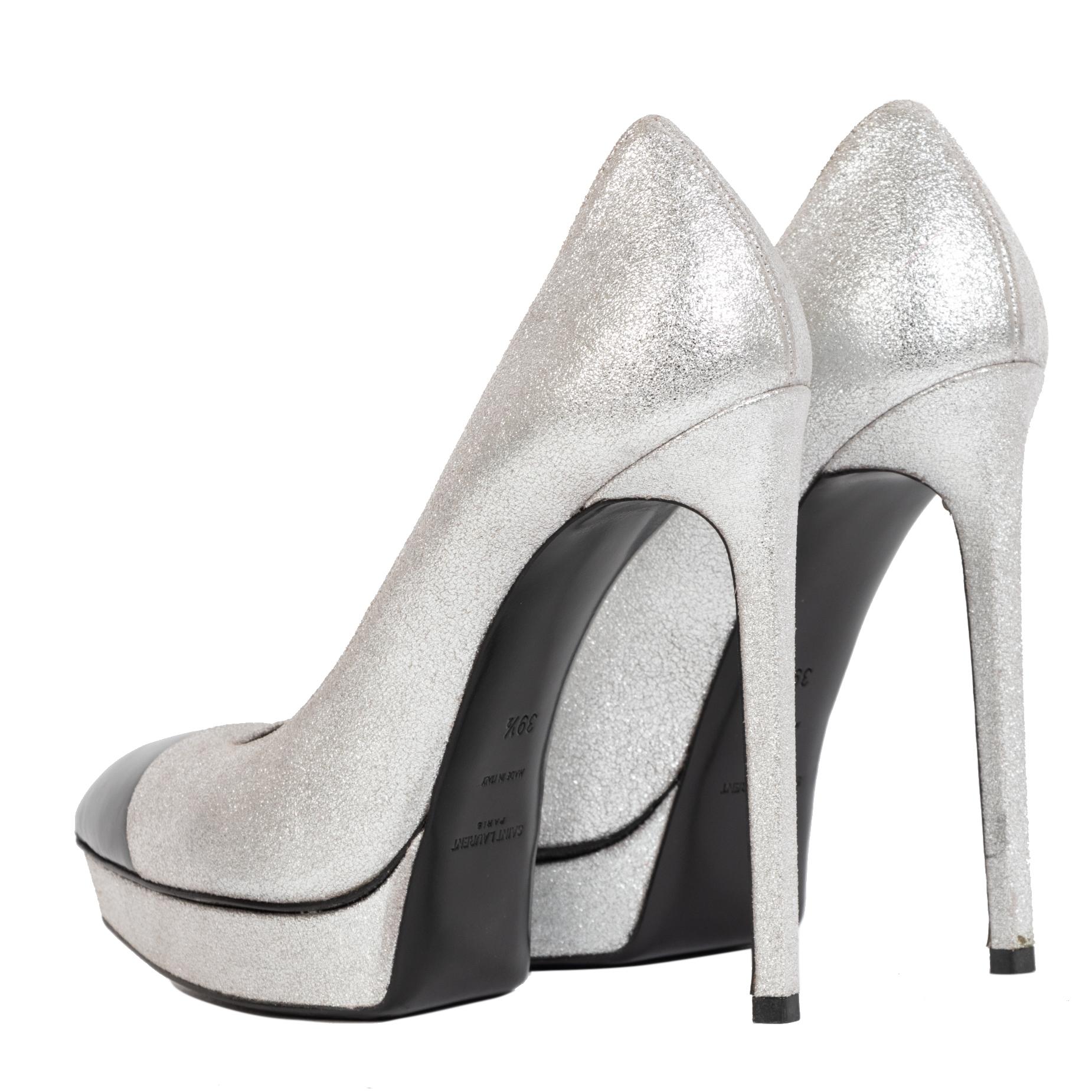 Authentieke Tweedehands Saint Laurent Glitter Platform Pumps - Size 39,5 juiste prijs veilig online shoppen luxe merken webshop winkelen Antwerpen België mode fashion