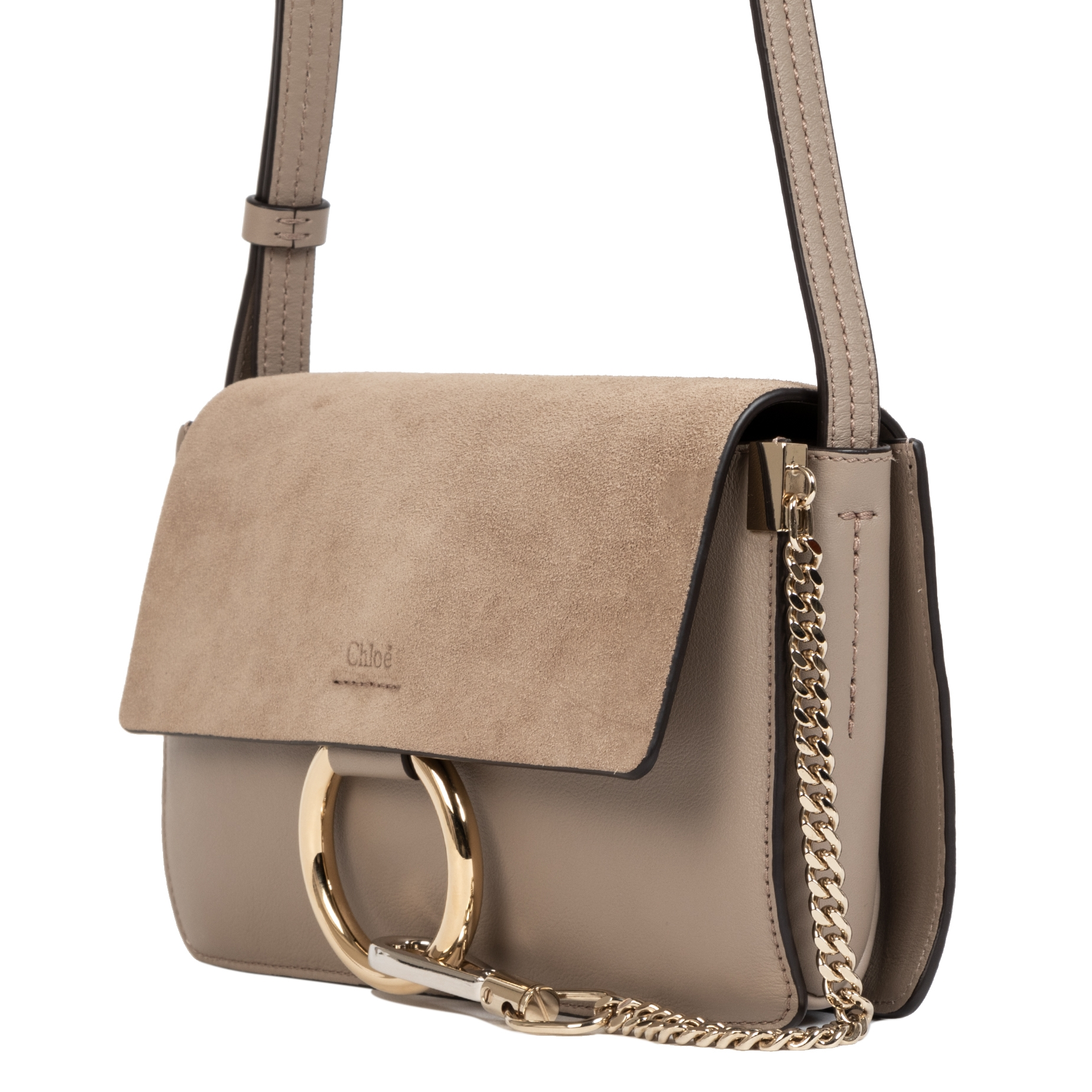 Chloe Faye Motty Grey Small Suede Shoulder Bag pour le meilleur prix chez Labellov à Anvers