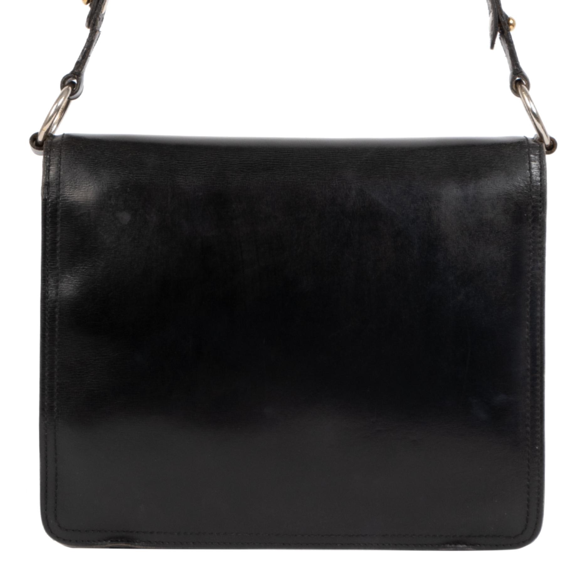 Authentieke Tweedehands Delvaux Black Leather DD Shoulder Bag juiste prijs veilig online shoppen luxe merken webshop winkelen Antwerpen België mode fashion