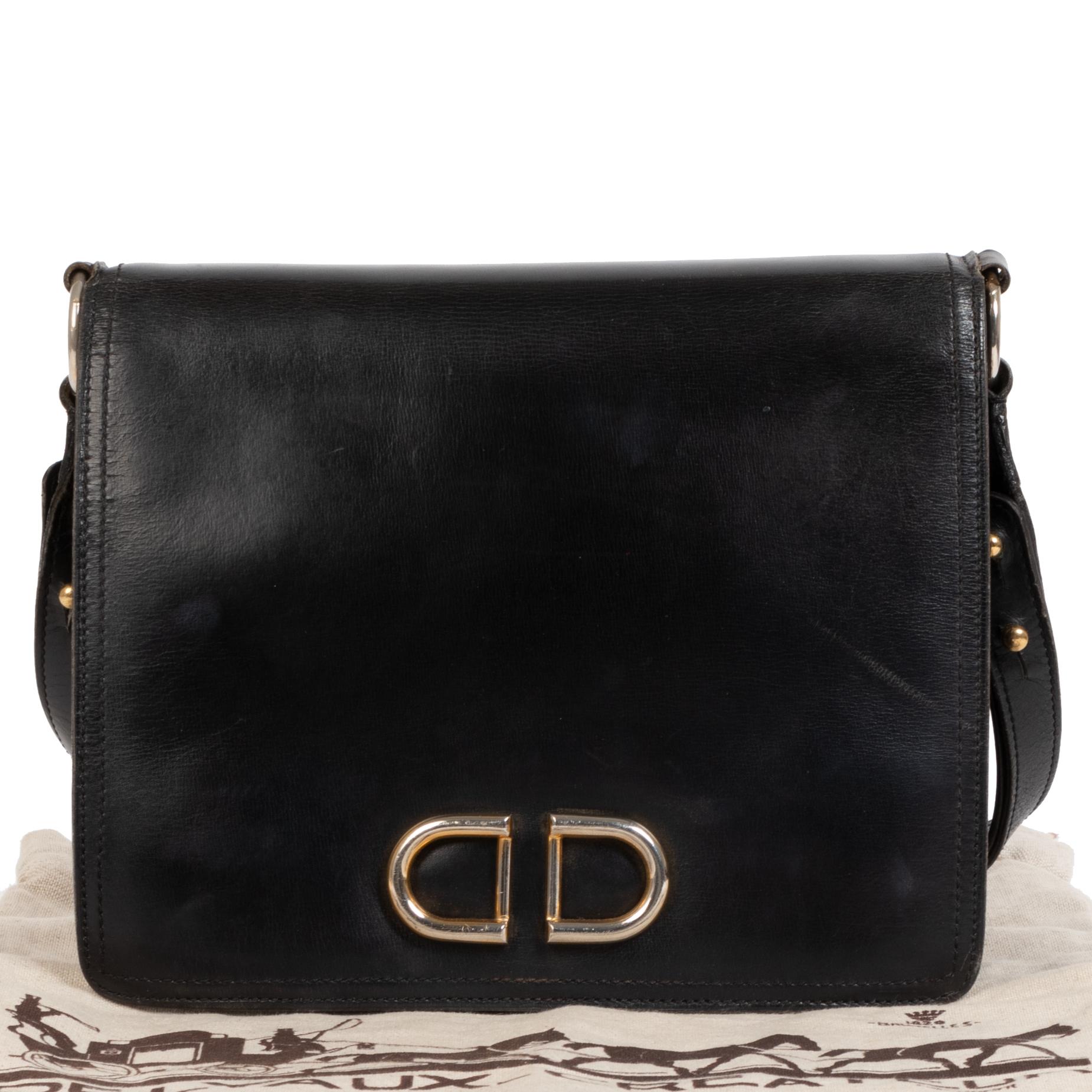 Delvaux Black Leather DD Shoulder Bag Delvaux Black Leather DD Shoulder Bag