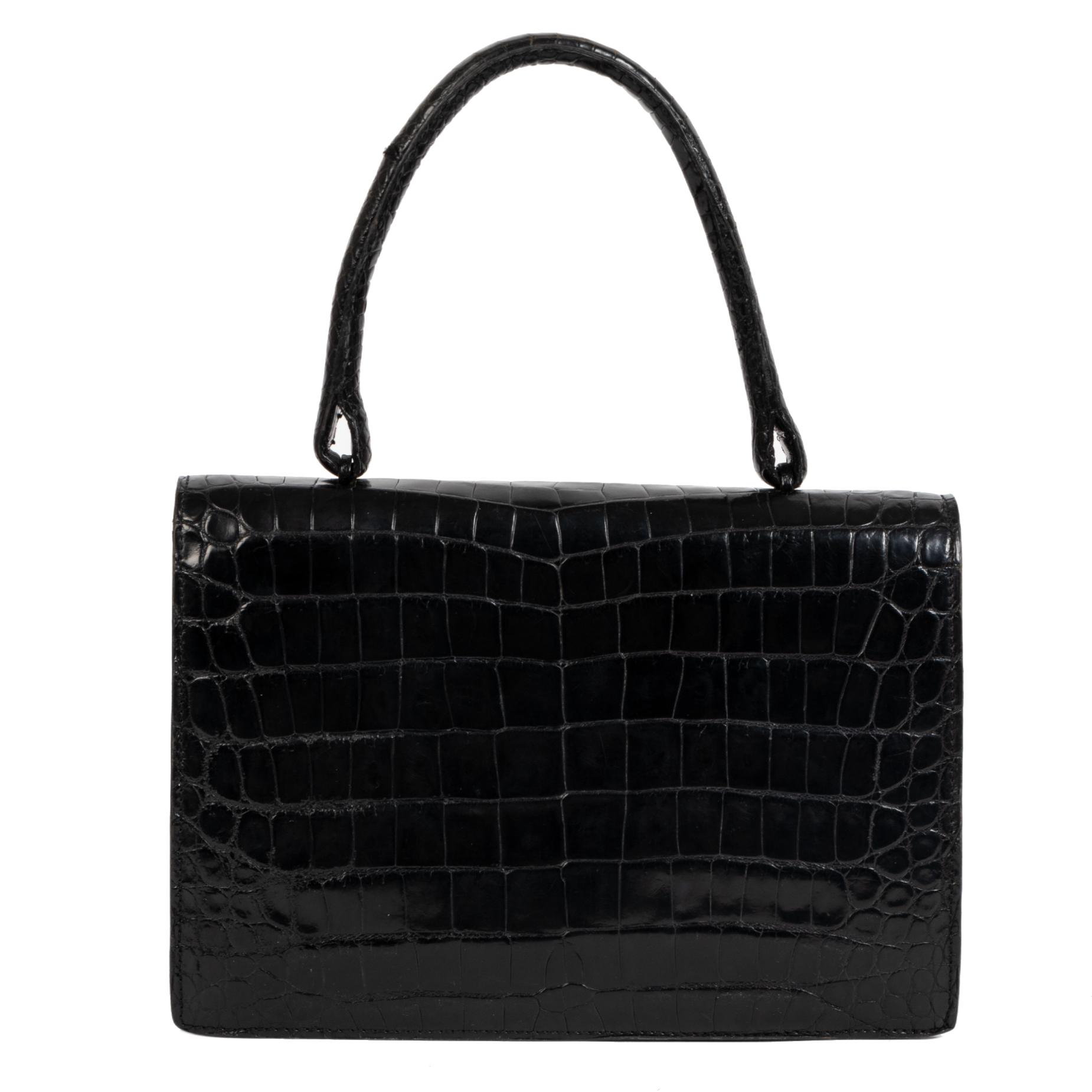 Authentic secondhand Delvaux Black Vintage Crocodile Top Handle Bag designer bags luxury vintage webshop safe secure online shopping designer brands worldwide shipping fashion