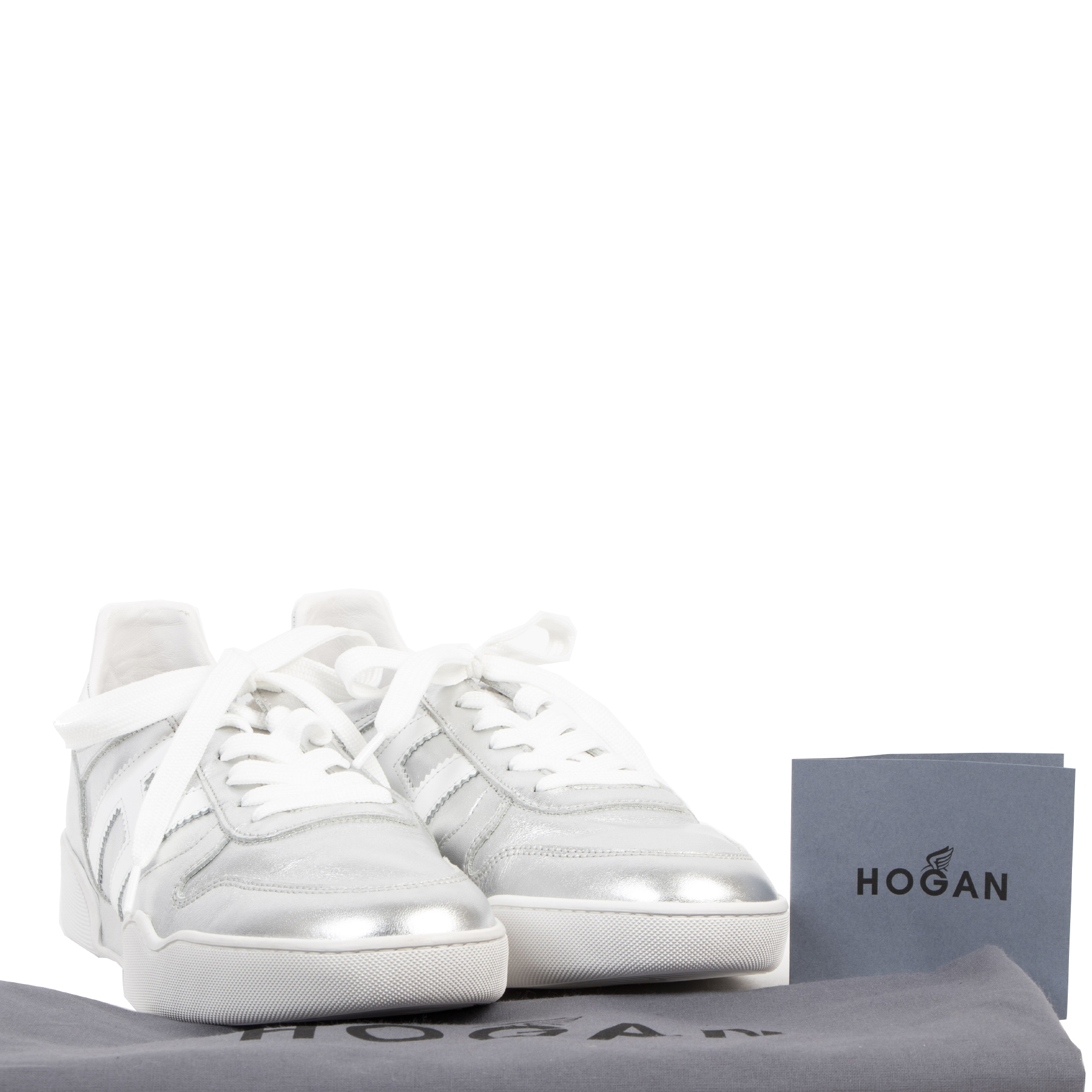 Authentic second-hand vintage Hogan Silver Leather Sneakers - Size 40 buy online webshop LabelLOV