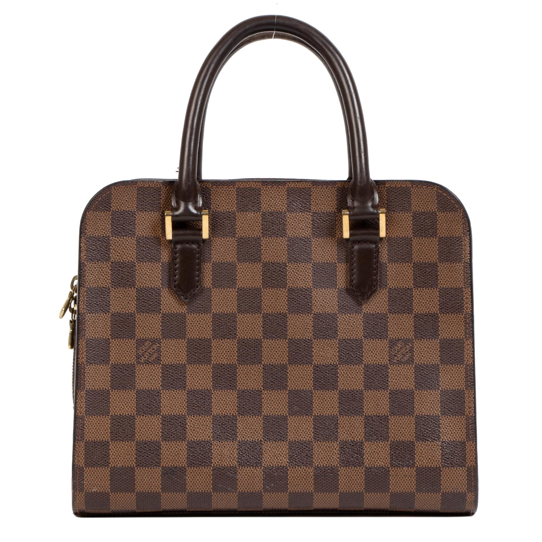 Authentic secondhand Louis Vuitton Damier Ebene Triana Bag designer bags designer brands luxury vintage webshop safe secure online shopping fashion worldwide shipping