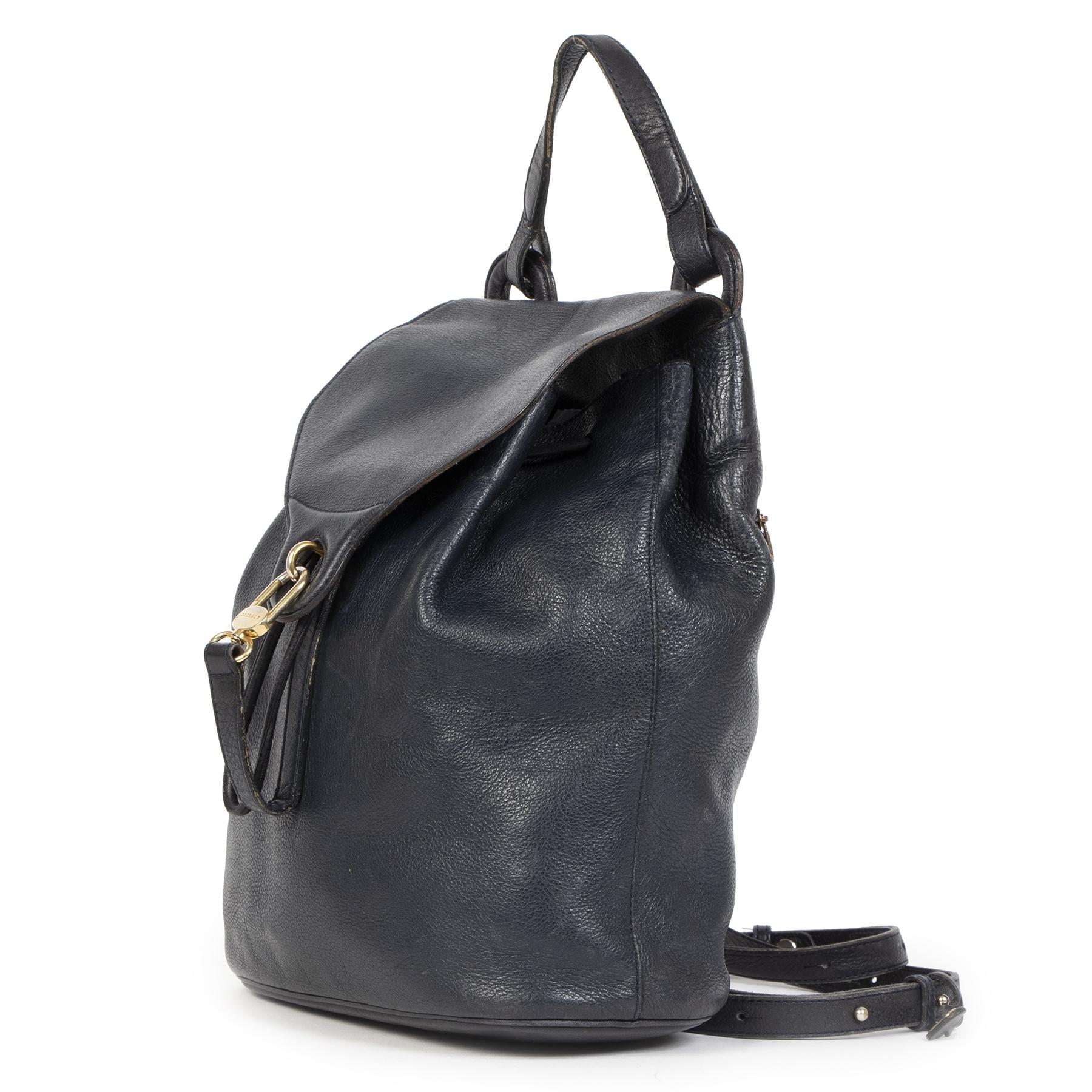 Authentieke Tweedehands Delvaux Navy Leather Backpack  juiste prijs veilig online shoppen luxe merken webshop winkelen Antwerpen België mode fashion