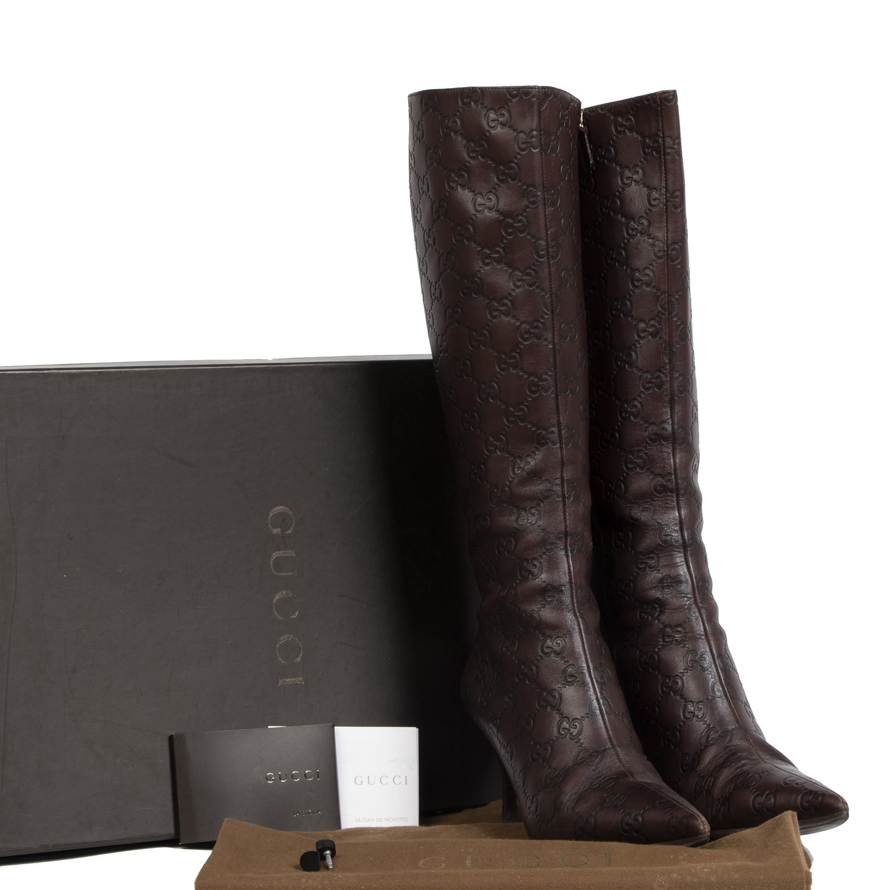 Gucci Guccissima Chocolat Leather knee High Boots - Size 38,5