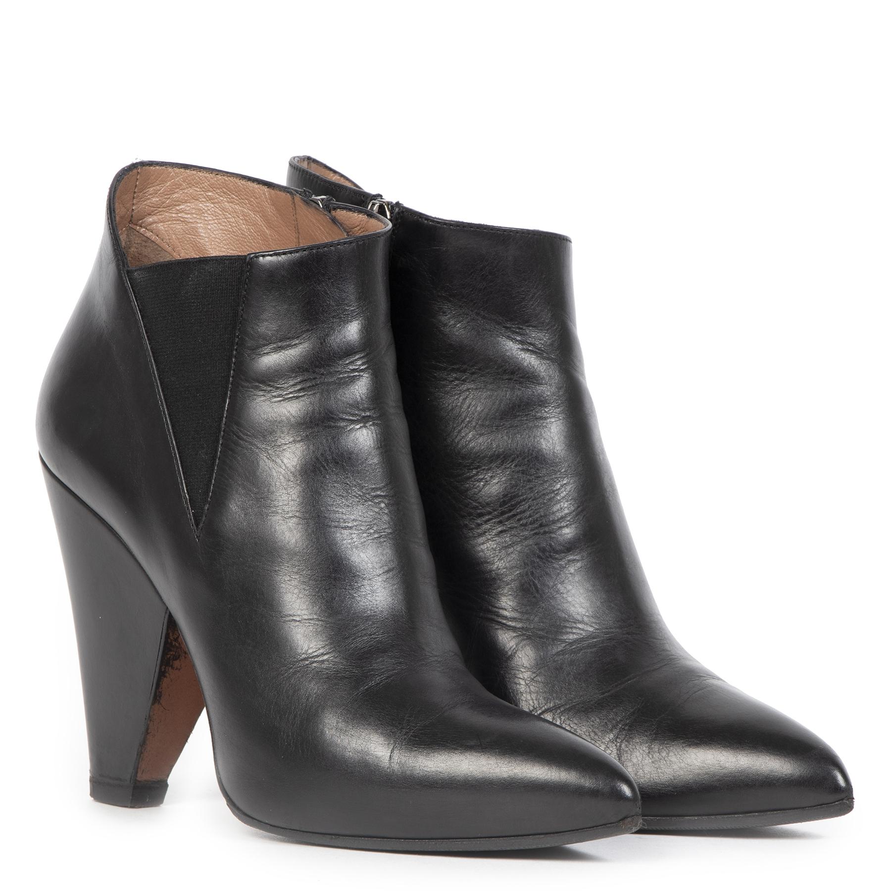Authentieke Tweedehands Alaïa Black Leather Ankle Boots - Size 37,5 juiste prijs veilig online shoppen luxe merken webshop winkelen Antwerpen België mode fashion
