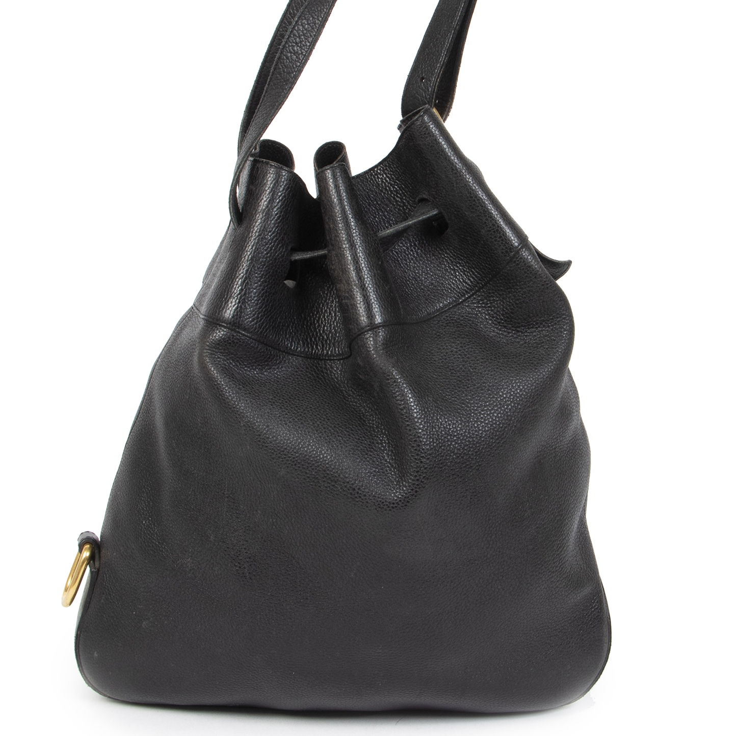 Authentic secondhand Delvaux Black Leather Bucket Bag designer bags designer brands fashion luxury vintage webshop safe secure online shopping worldwide shipping