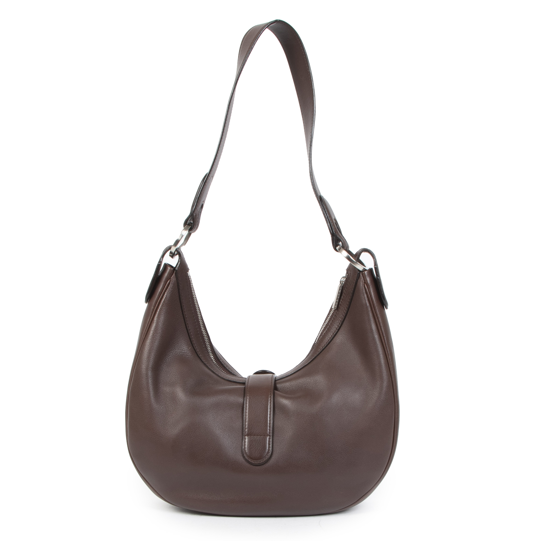 Authentic secondhand Delvaux Chocolate Brown Leather Camille Bag designer bags designer brands luxury vintage webshop safe secure online shopping worldwide shipping