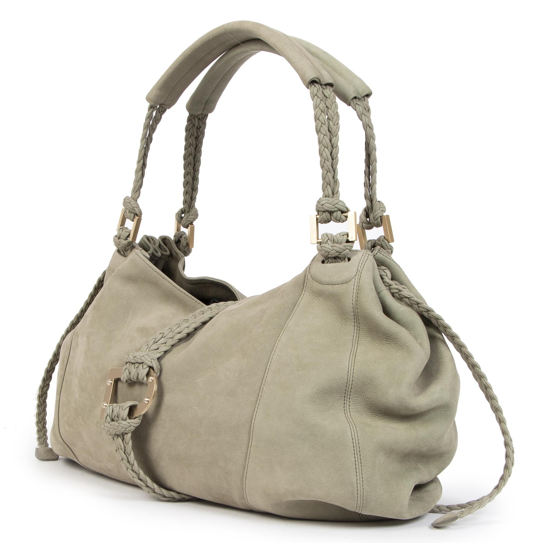 Authentieke Tweedehands Delvaux Suede Mint Green Colette Bag juiste prijs veilig online shoppen luxe merken webshop winkelen Antwerpen België mode fashion