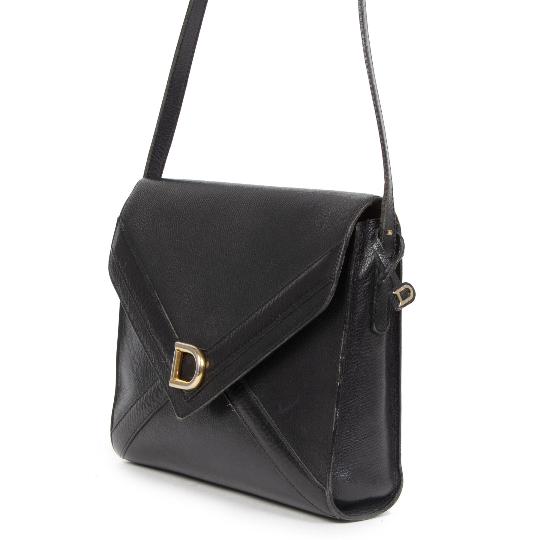 Authentieke Tweedehands Delvaux Black Leather Envelope Shoulder Bag juiste prijs veilig online shoppen luxe merken webshop winkelen Antwerpen België mode fashion
