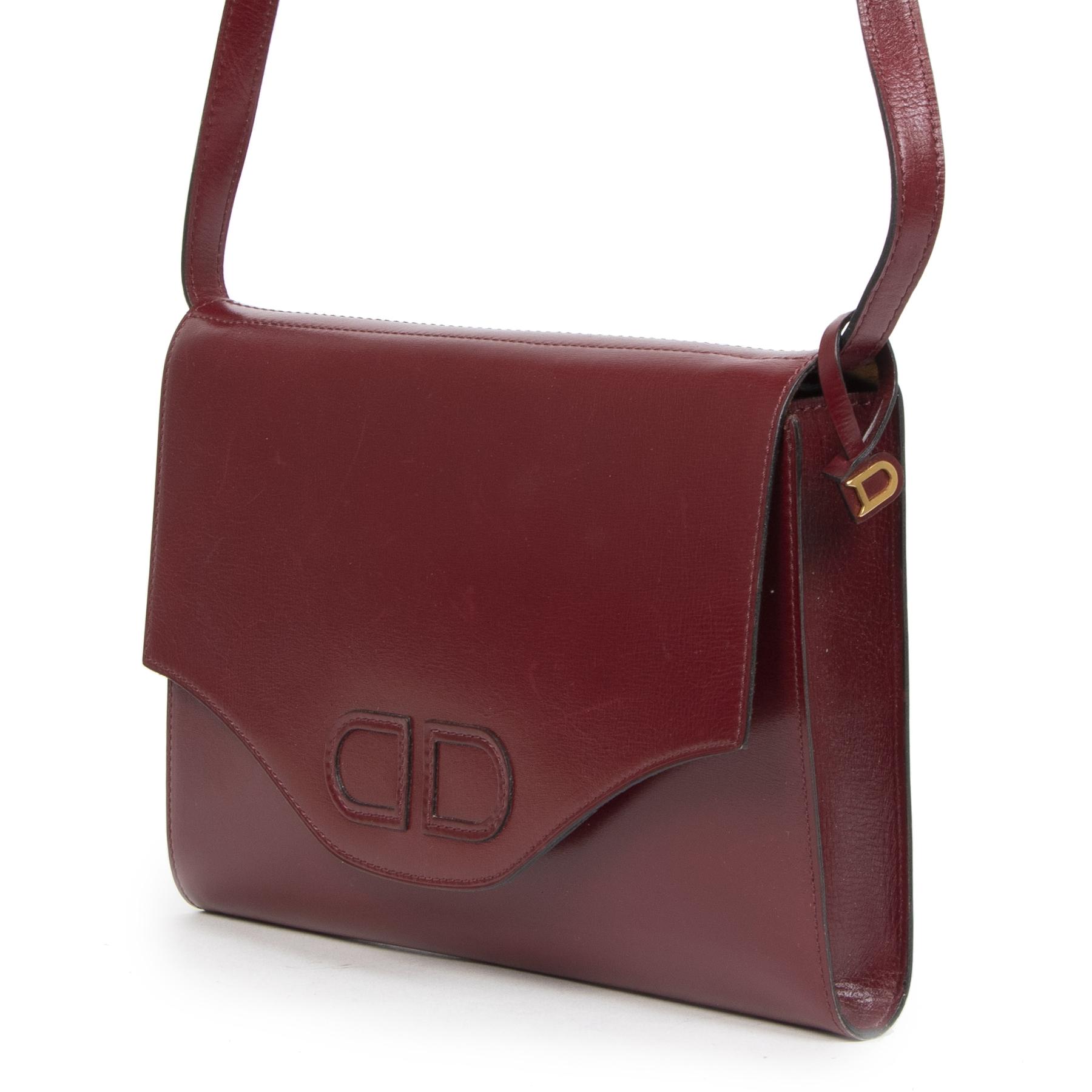 Authentieke Tweedehands Delvaux Bordeaux Leather Bag juiste prijs veilig online shoppen luxe merken webshop winkelen Antwerpen België mode fashion
